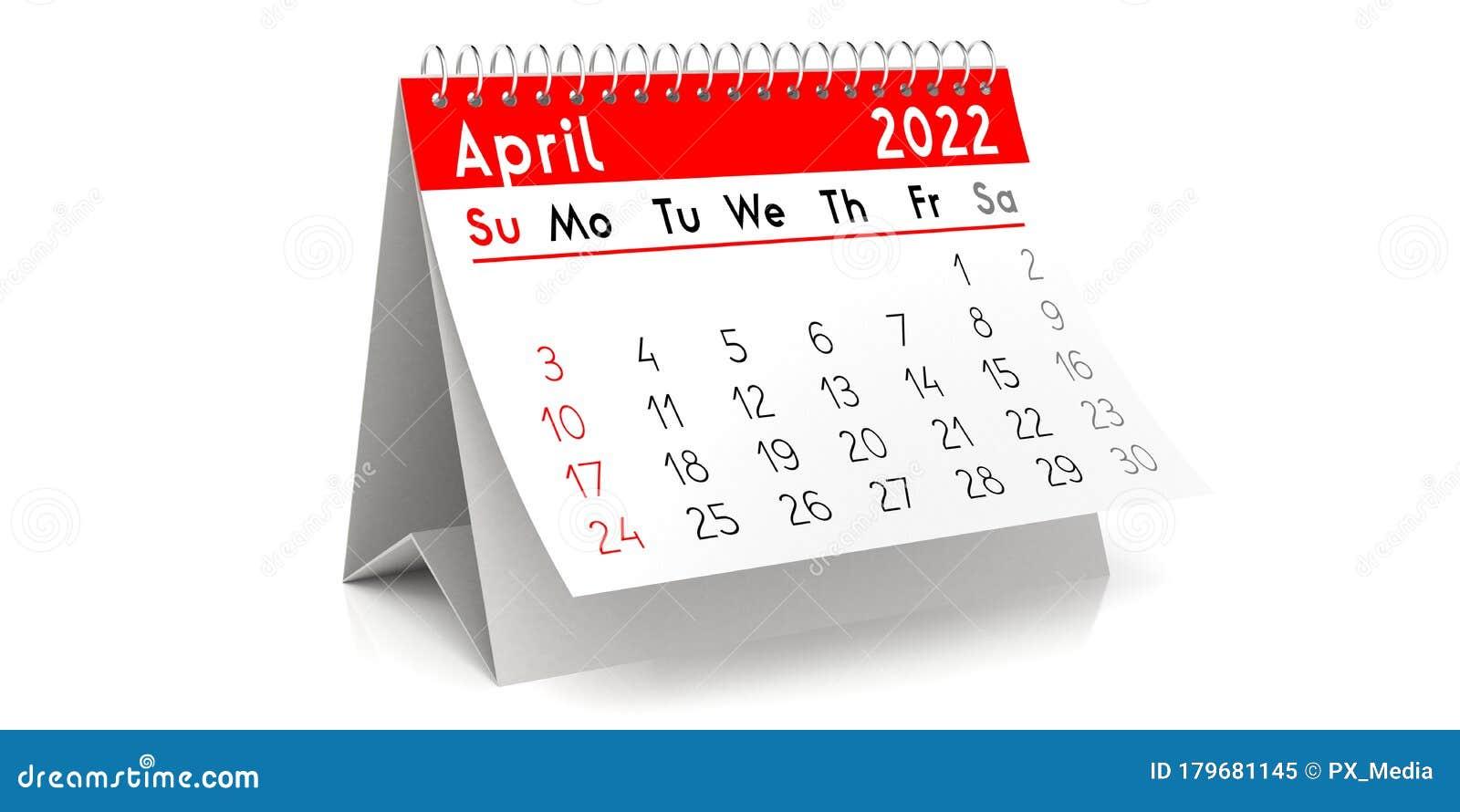 Cute April 2022 Calendar.April 2022 Table Calendar 3d Illustration Stock Illustration Illustration Of Event Agenda 179681145