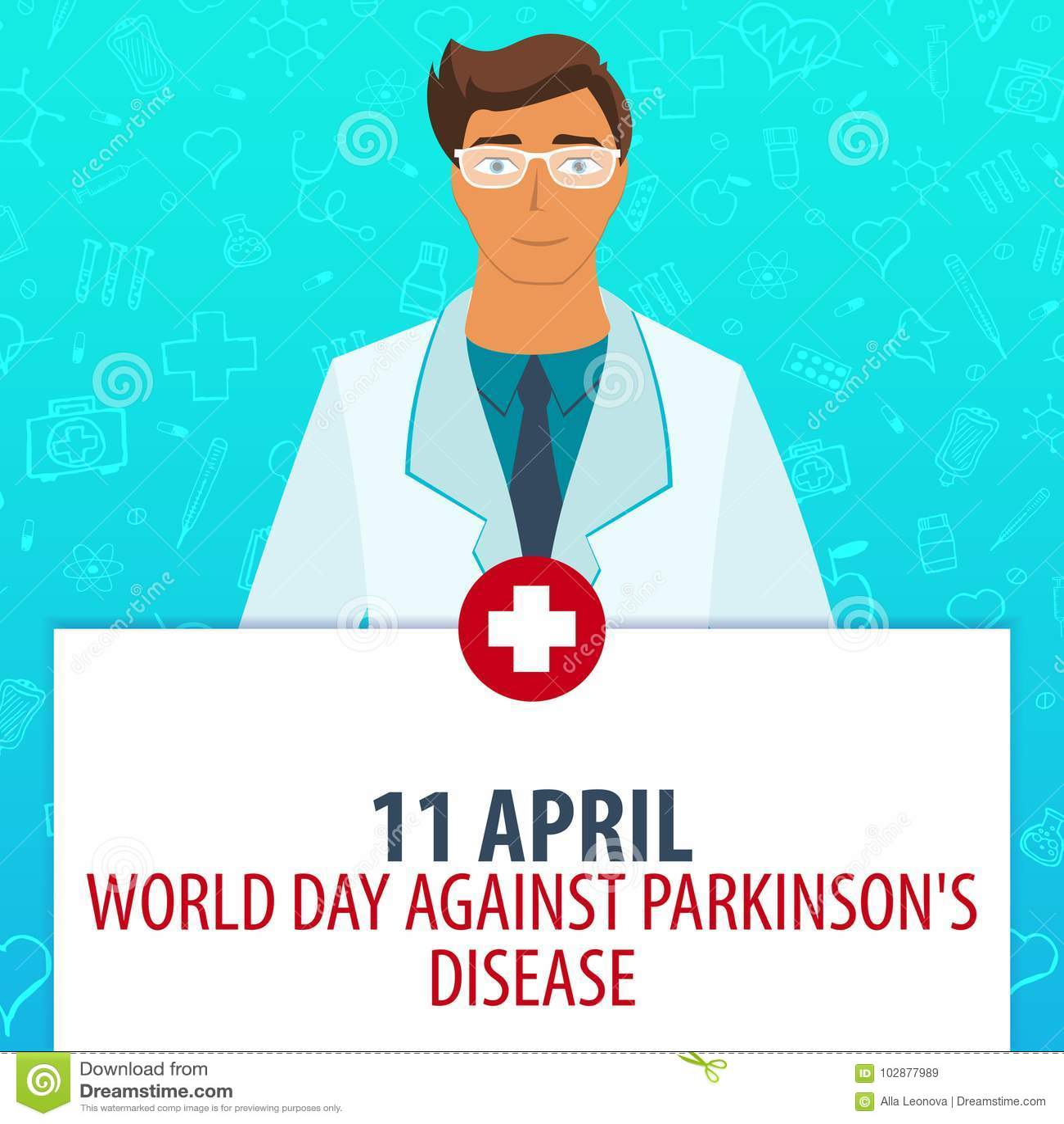 11 April Världsdag mot den Parkinsons sjukdomen Medicinsk ferie Vektormedicinillustration