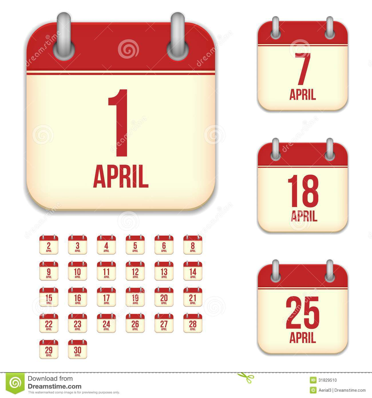 Xs Calendar April : April vector calendar icons stock image