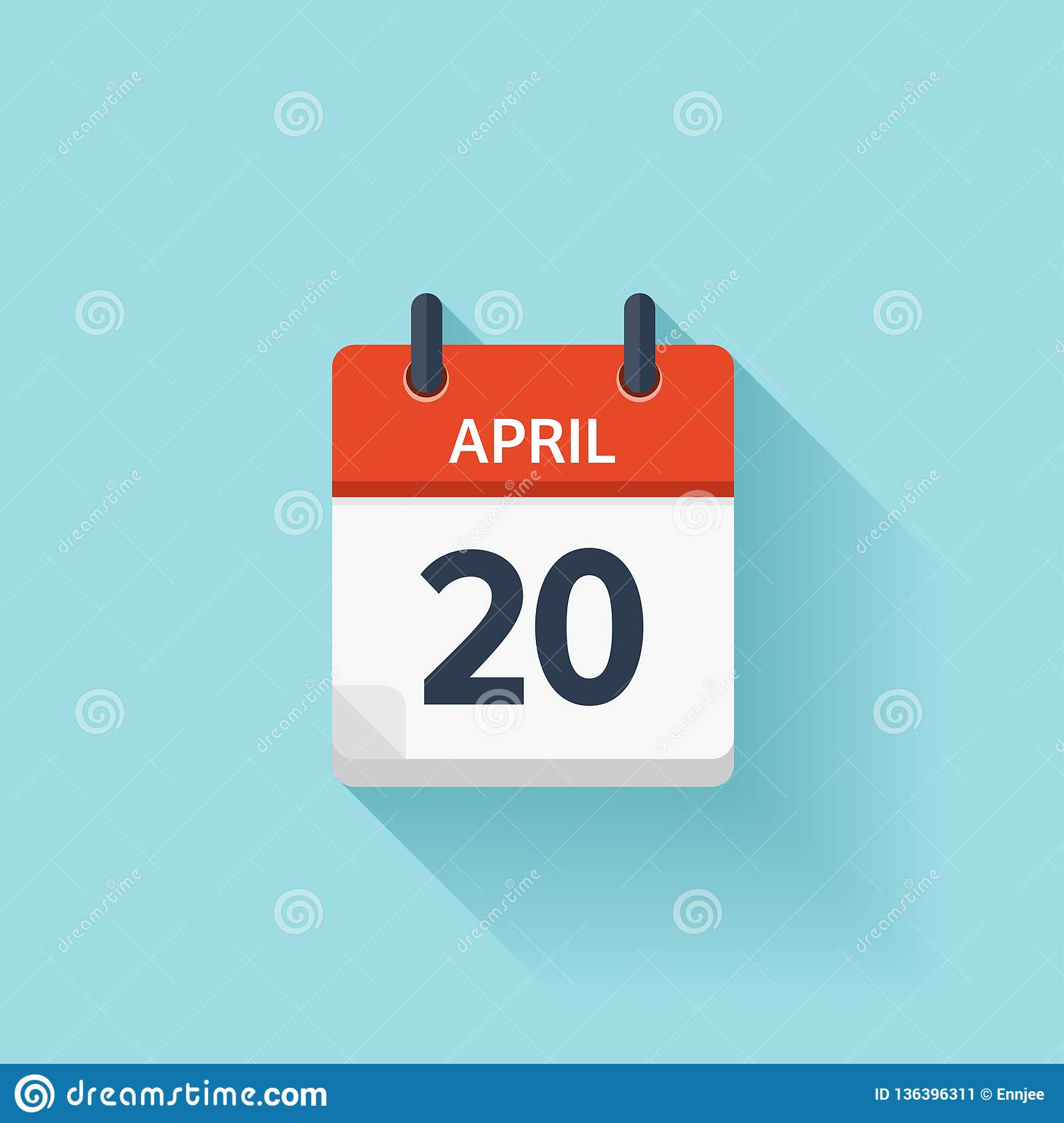 Daily Holiday Calendar.April 20 Vector Flat Daily Calendar Icon Date And Time Day Month