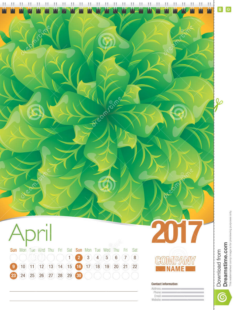 April Wall Calendar 2017 Template With Abstract Floral Design ...