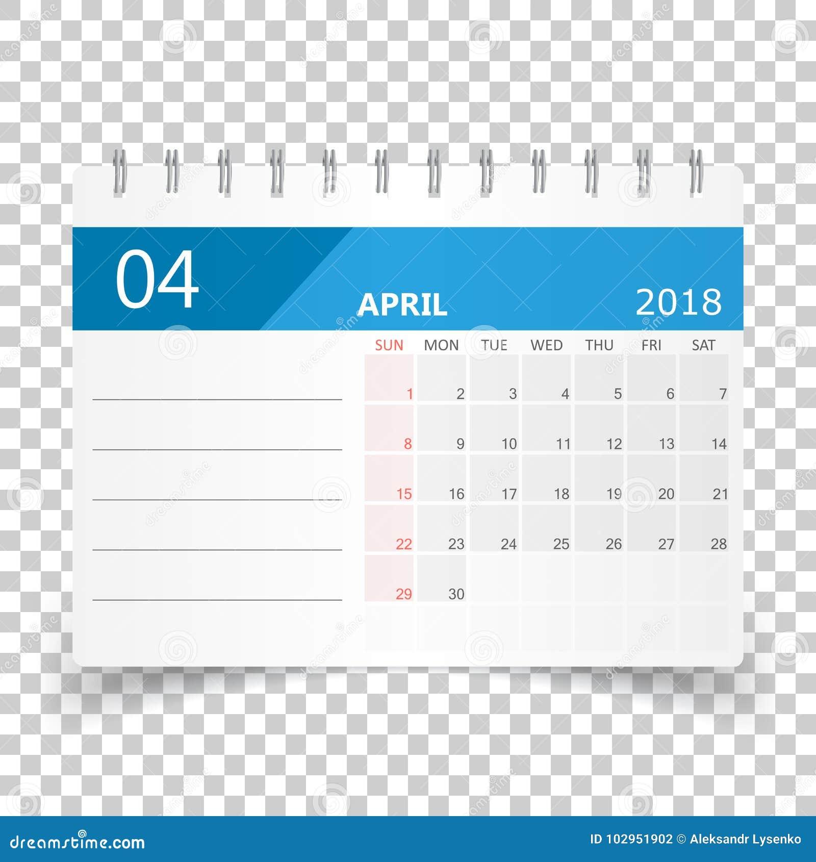 Aprile 2018 calendario modello di progettazione del for Pianificatore di blueprint gratuito