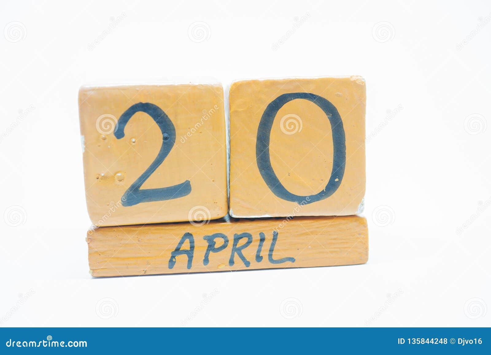 Calendario Giorno.20 Aprile Giorno 20 Del Mese Calendario Di Legno Fatto A