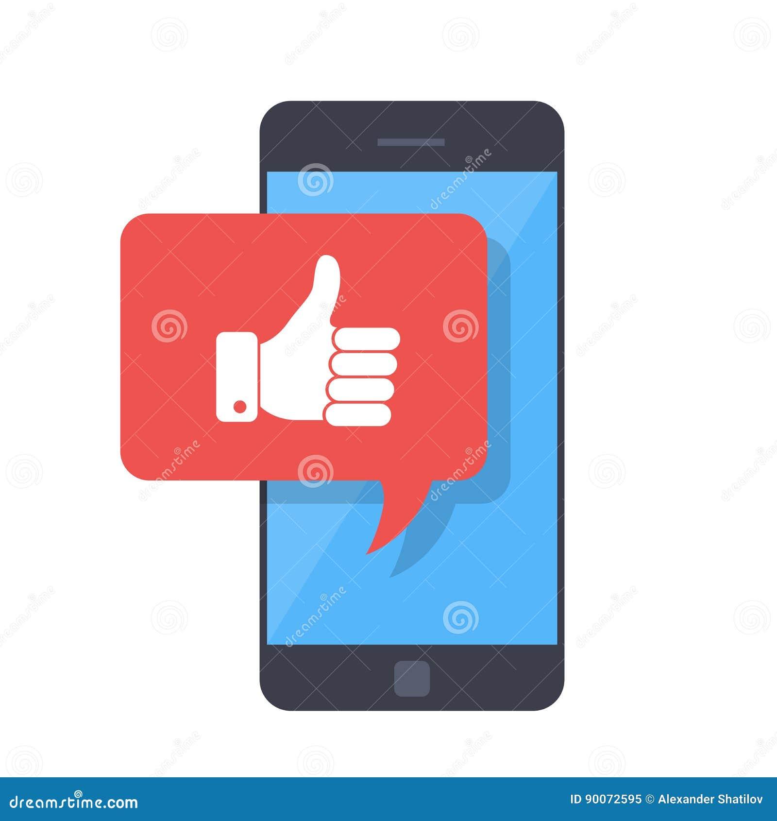 Aprobaty ikona z smartphone Jak wiadomość na ekranie, jak guzik Ogólnospołeczna sieć, ogólnospołeczny medialny użycie na urządzen