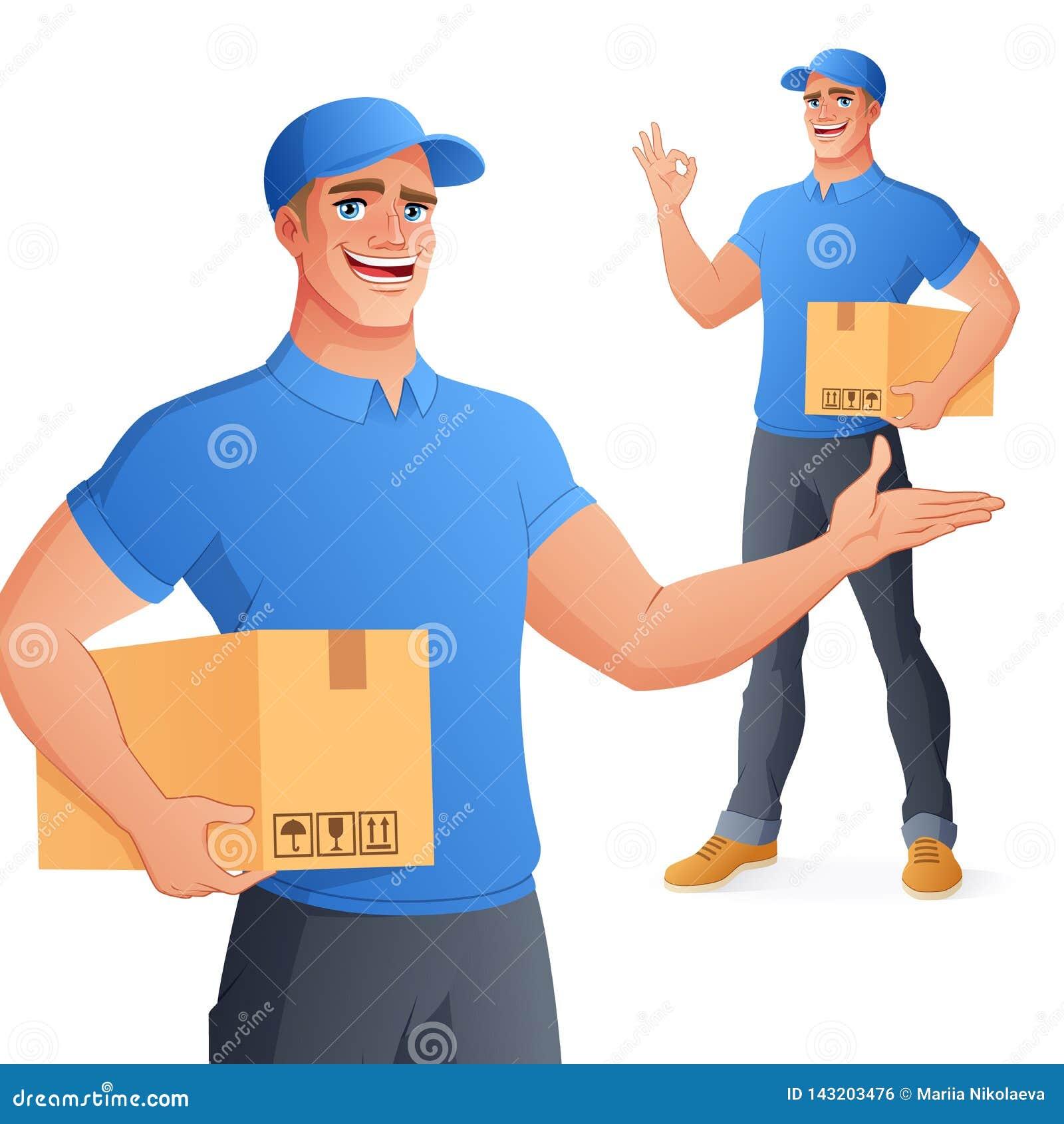 APROVAÇÃO da exibição da caixa da terra arrendada do homem do serviço de entrega do correio Ilustração do vetor