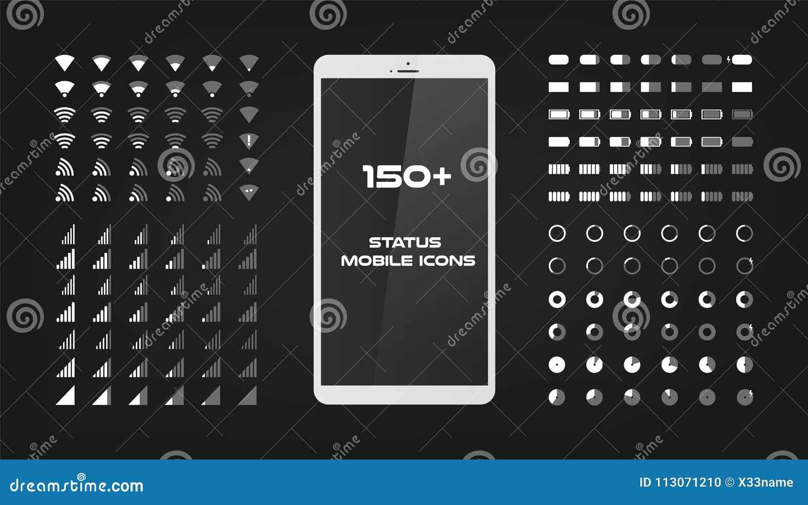 Aproximadamente 150 ícones da relação O carregador da bateria, o sinal do wifi e o nível móveis da conexão cantam o grupo A forma