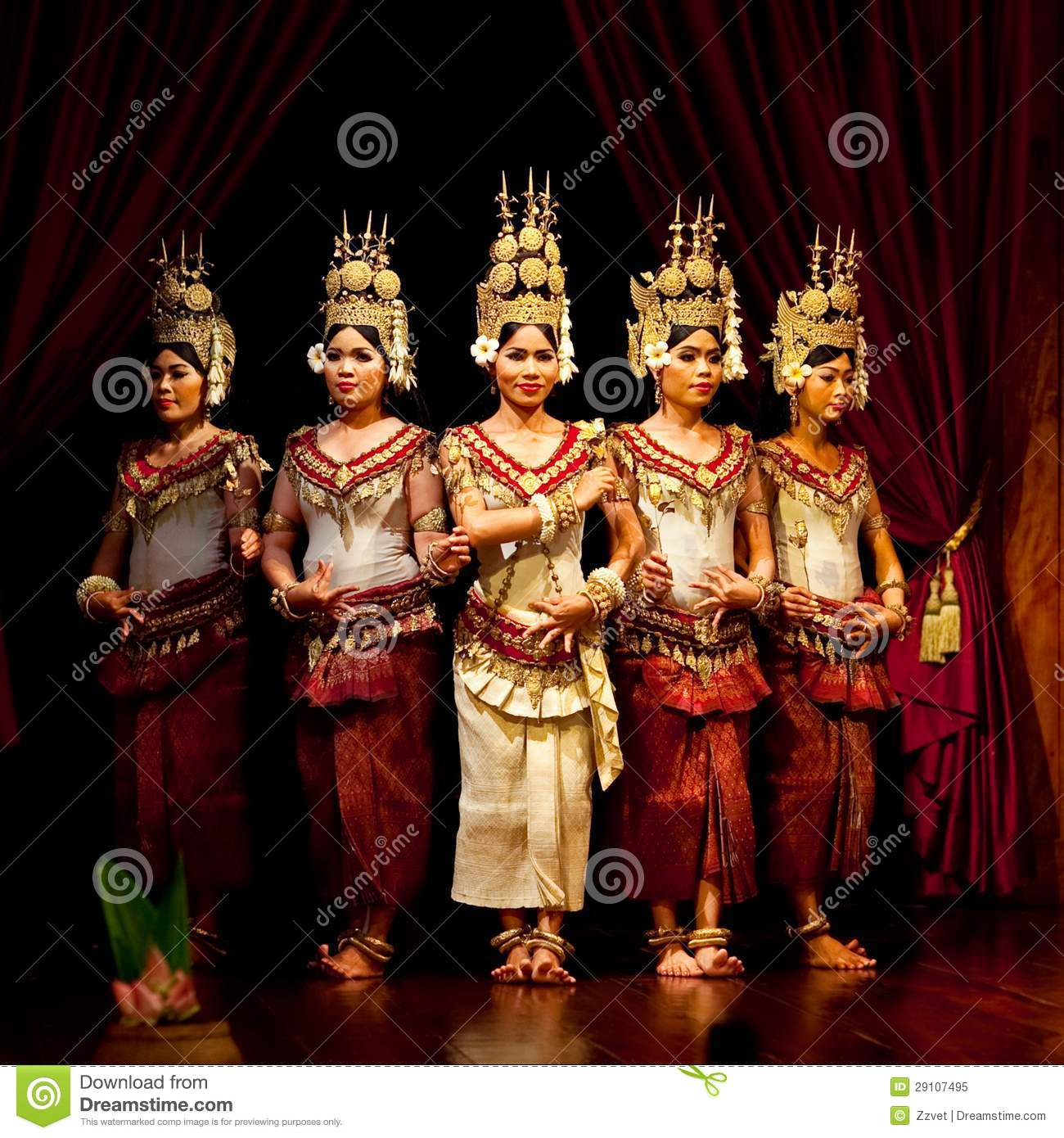 Khmer classical dancers performing in traditional costume on January ...