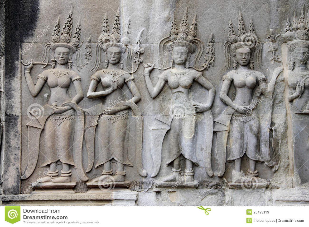 Apsaras khmer stone carving in angkor wat stock photos