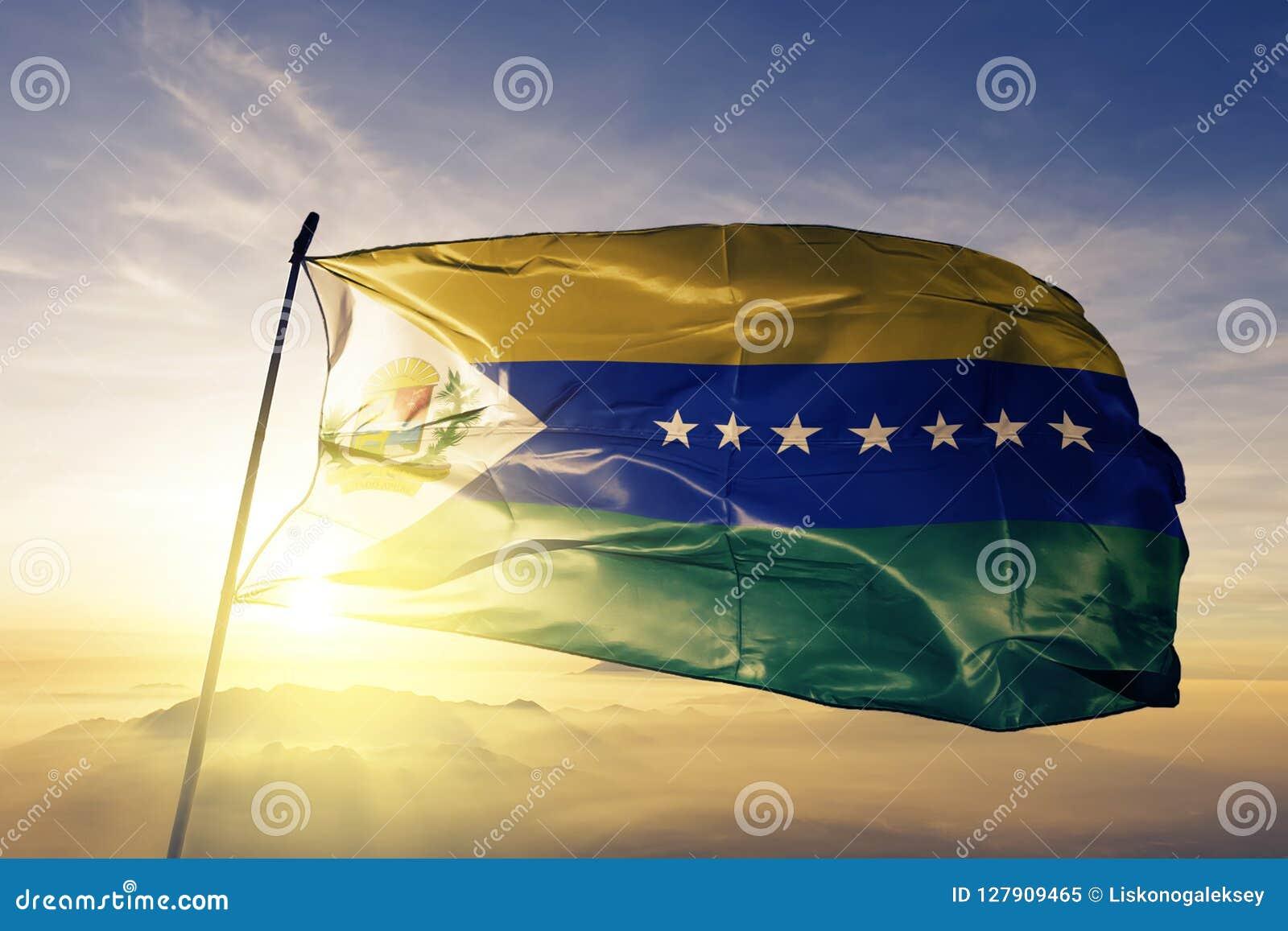 Apure State of Venezuela flag textile cloth fabric waving on the top sunrise mist fog