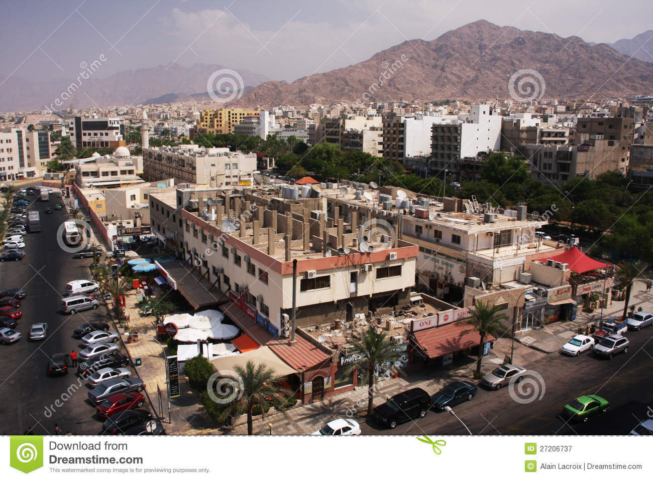 The Central Mosque In Aqaba City Jordan Middle East Stock Photo