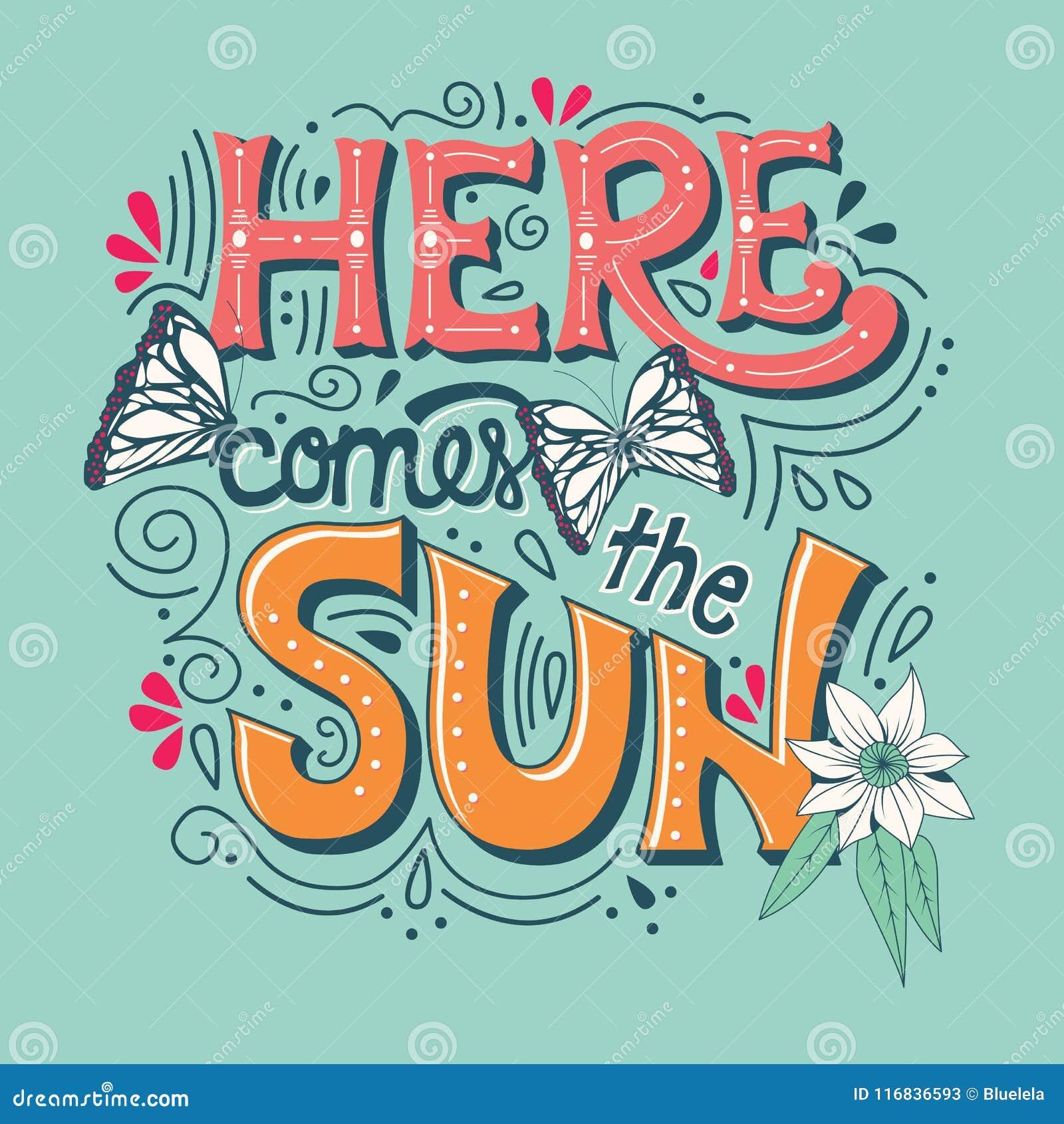 Aquí viene la bandera de la tipografía del sol con las mariposas, las flores y los remolinos