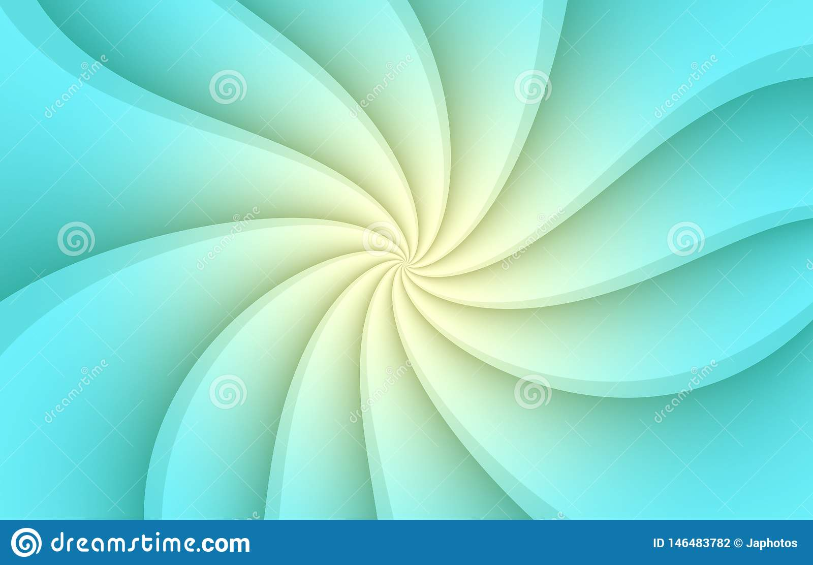 Aqua Blue And White Spinning Spiral Curves Abstract