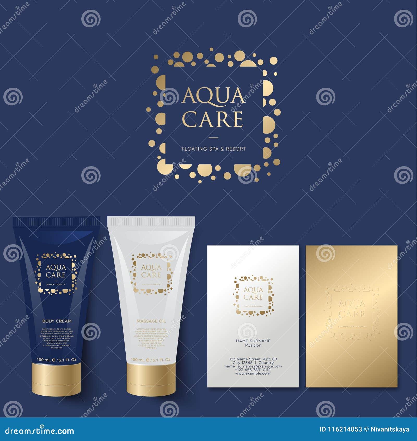 Aqua Care logo. Spa emblem. Mineral natural cosmetics logo. Identity. Tubes and business card
