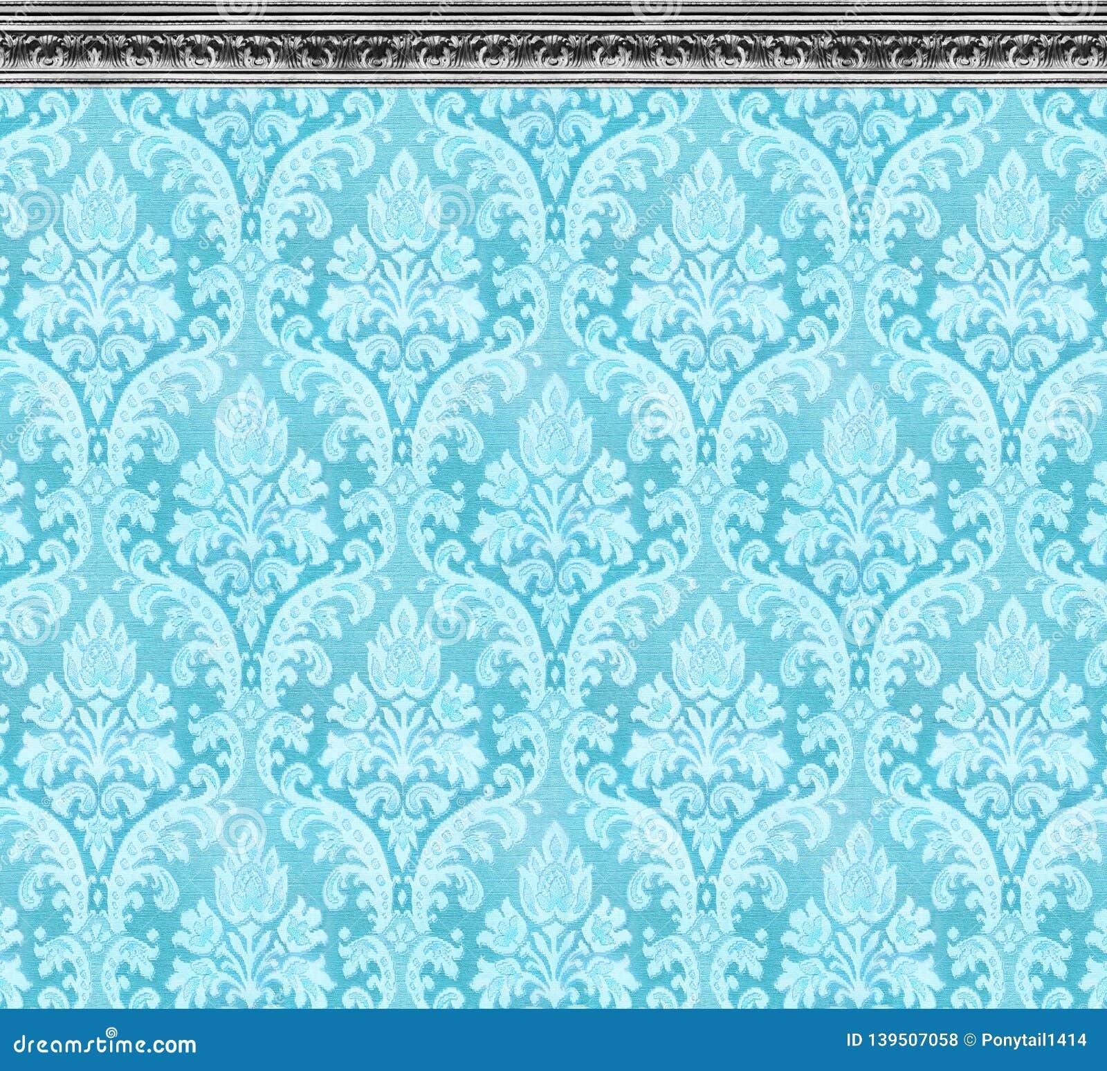 Elegant Wall of Aqua Damask Wallpaper With Ornate Molding