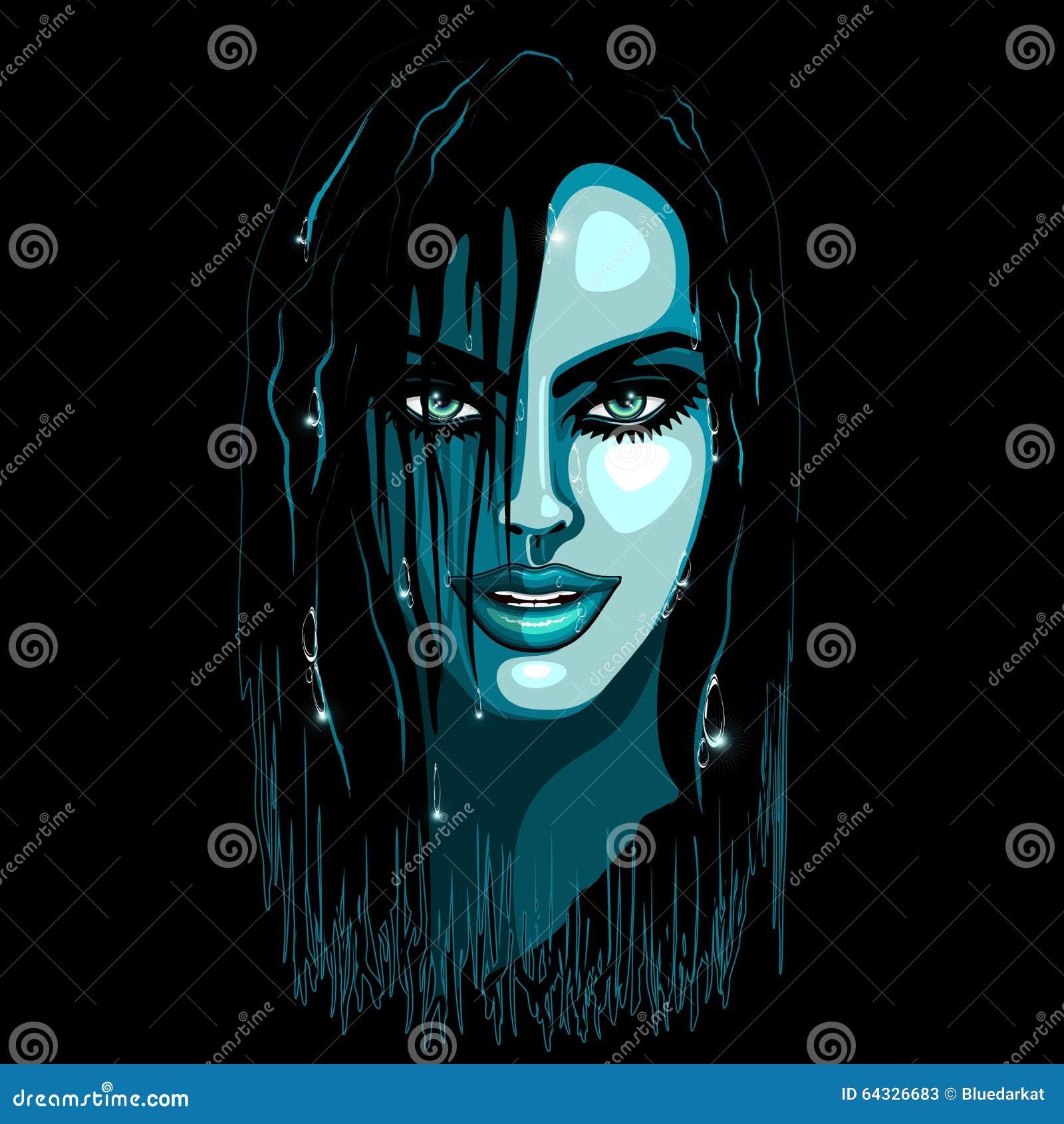 Aqua Girl Sensual Portrait