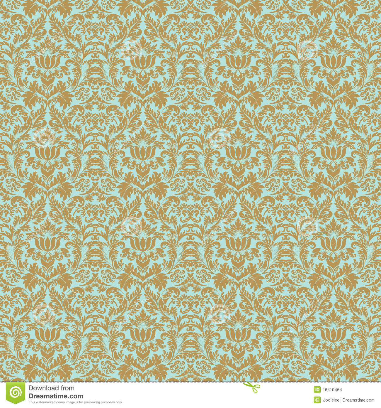 Aqua gold floral wedding damask seamless pattern