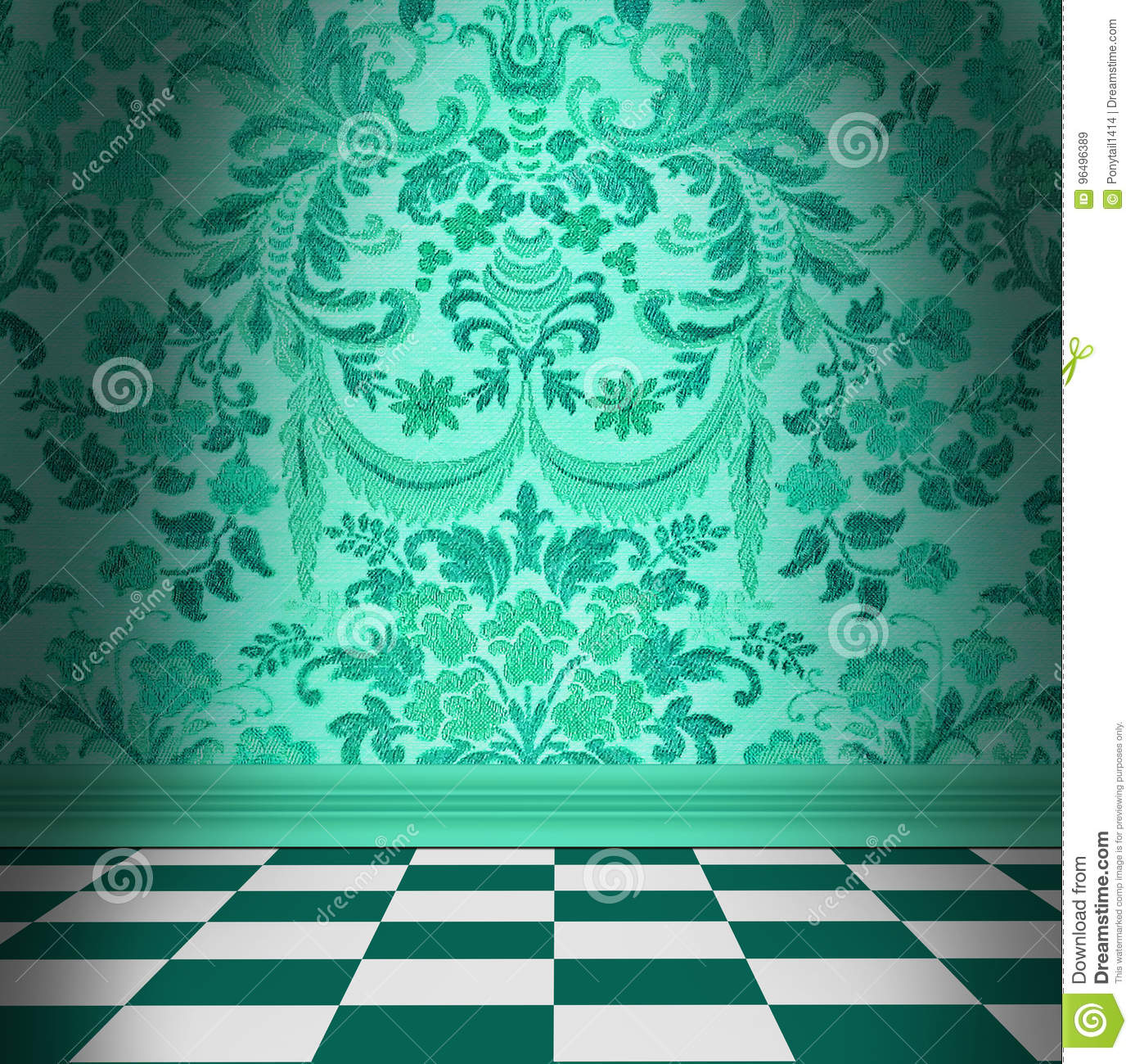 Aqua Green Damask Wallpaper With Black & White Checkerboard Tile