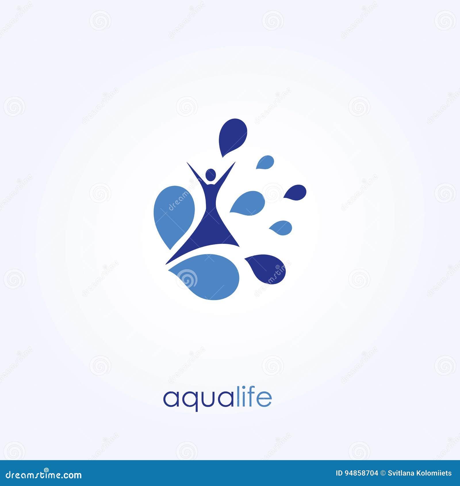 Aqua Life, Waterembleem, Gezonde Levensstijl Vector illustratie