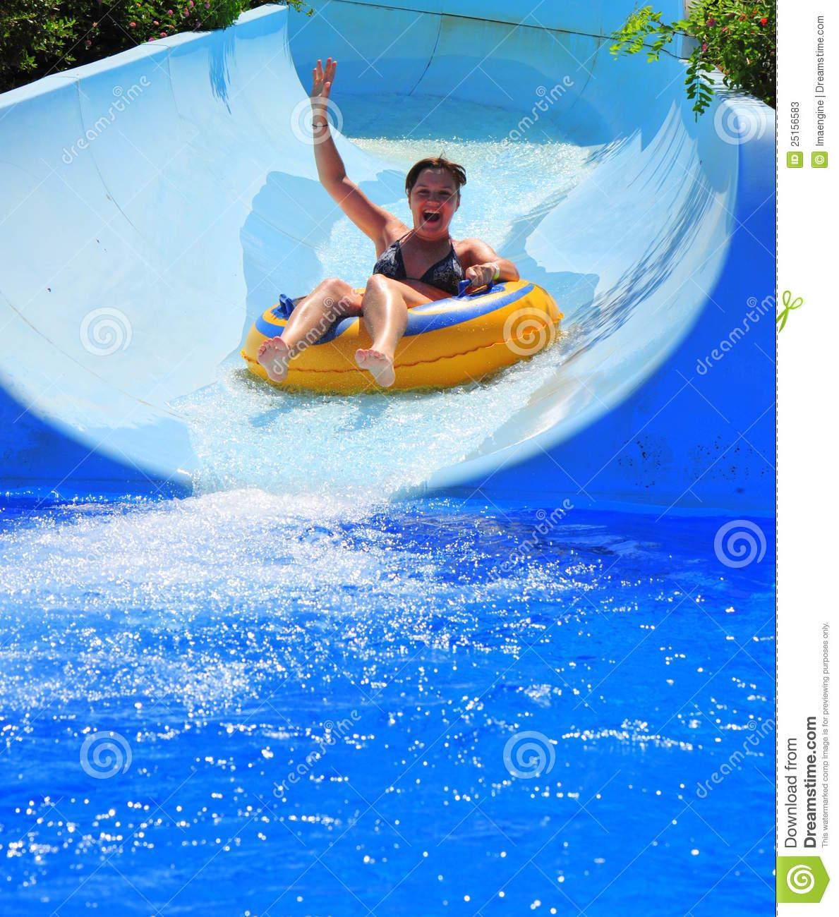 Aqua Park Fun Woman Enjoying A Water Slide Stock Photos Image 25156583