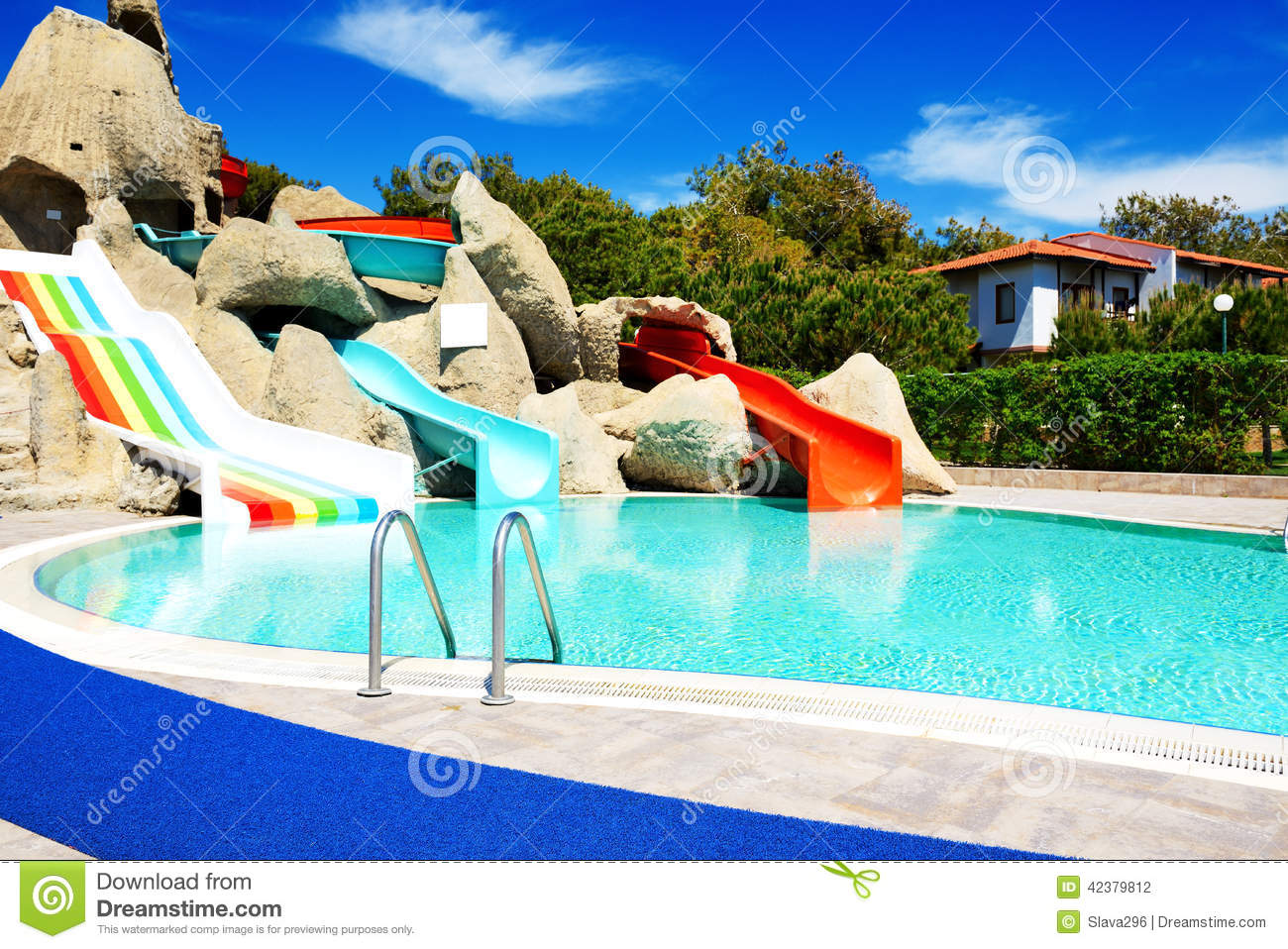 Aqua Park With Water Slides In Luxury Hotel Stock Photo