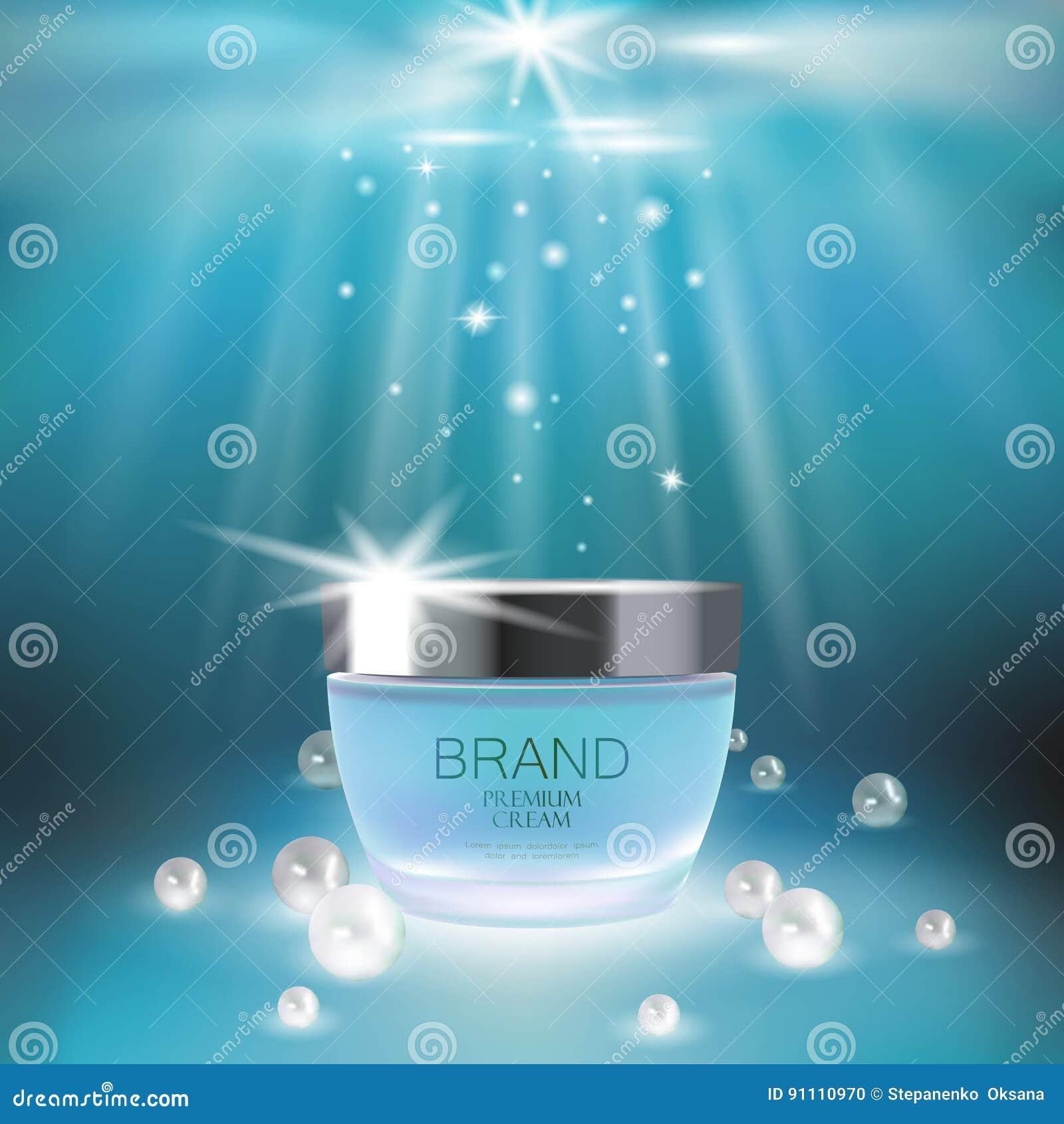 Aqua skóry opieki creme kosmetyczna reklama promuje plakatowego szablon Podwodne głębokiego morza światła słonecznego promienia b
