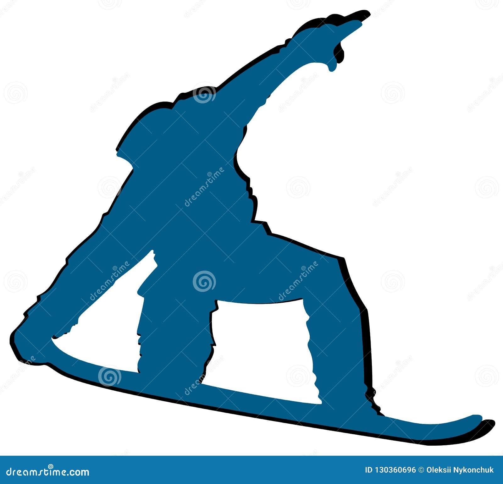 Aqua Snowboarder Flat Icon su fondo bianco