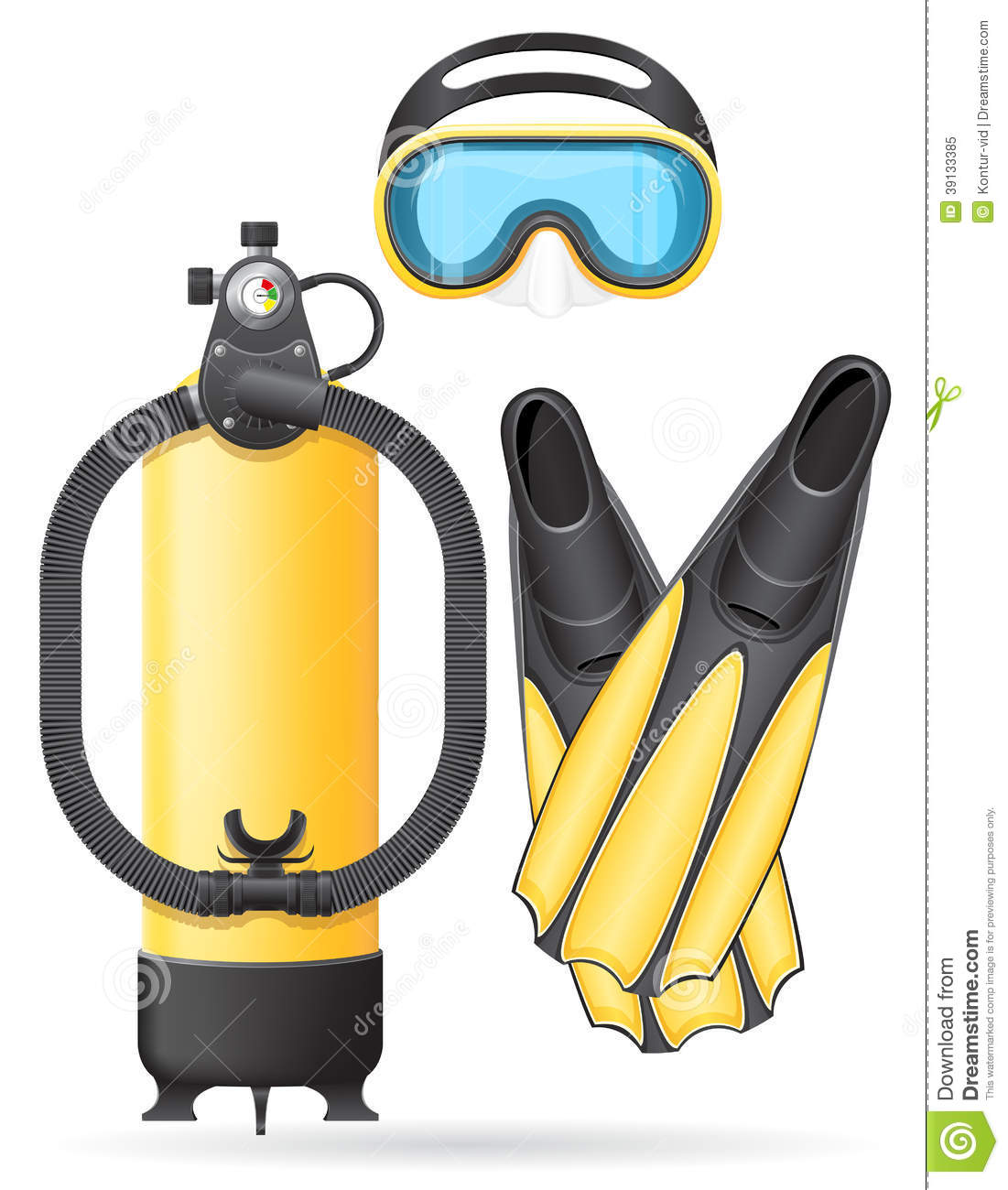 Aqualung mask tube and flippers for diving stock vector for Dive tube