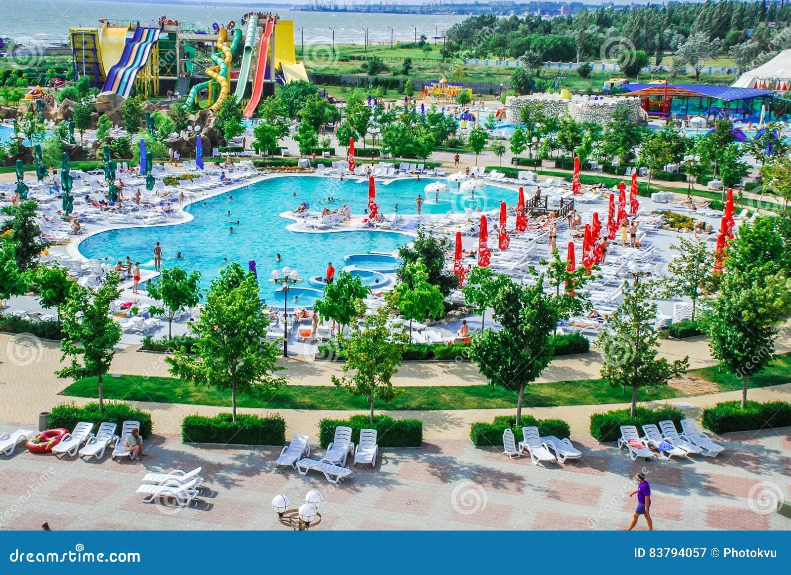 Aquapark en la ciudad de Berdyansk, Ucrania