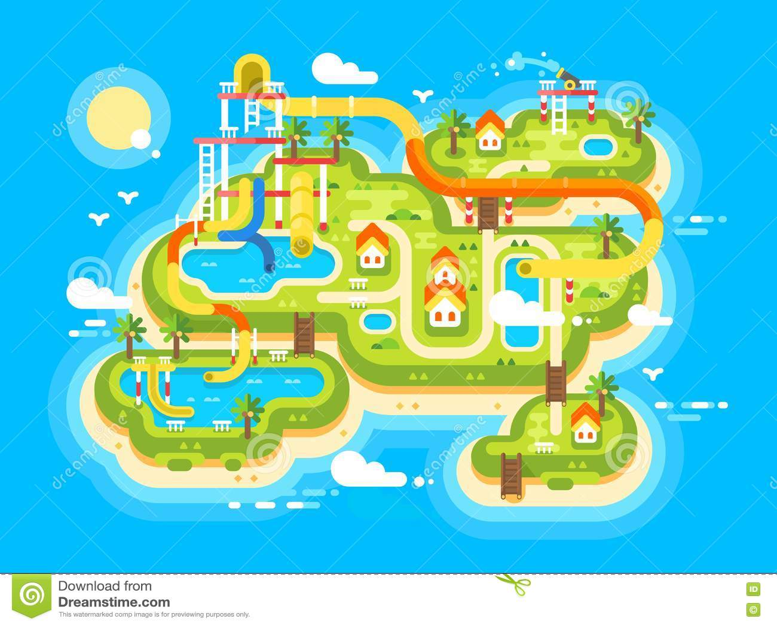 Aquapark-Plan flach