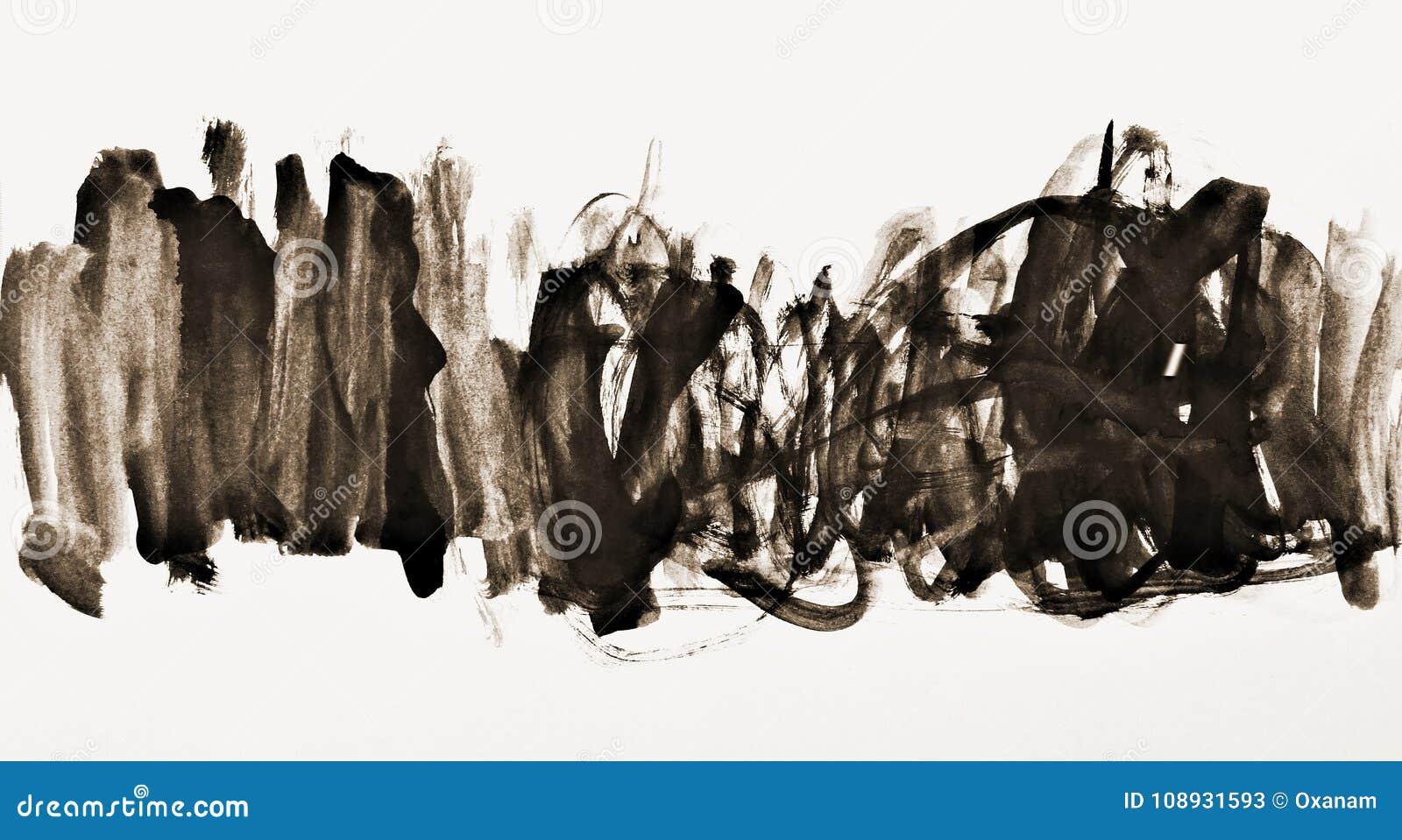 Aquarela abstrata na textura de papel como o fundo Na tonelada do Sepia
