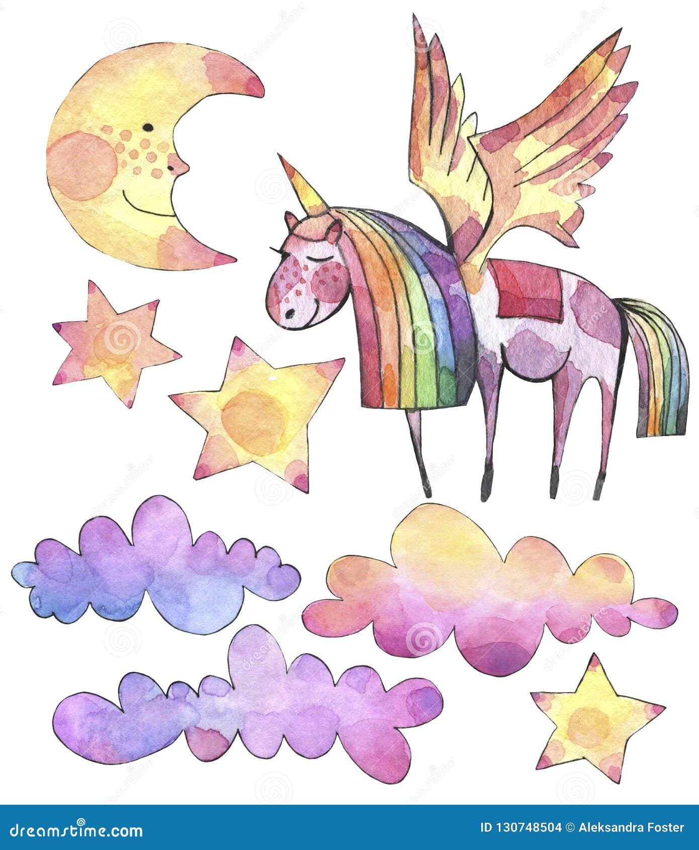 Aquarela ajustada com unicórnio, as nuvens do arco-íris e as estrelas brilhantes no fundo branco
