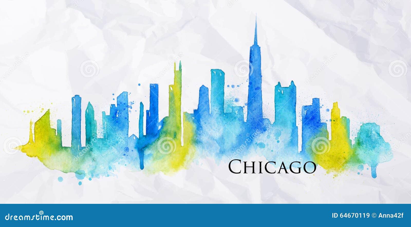 Aquarela Chicago da silhueta