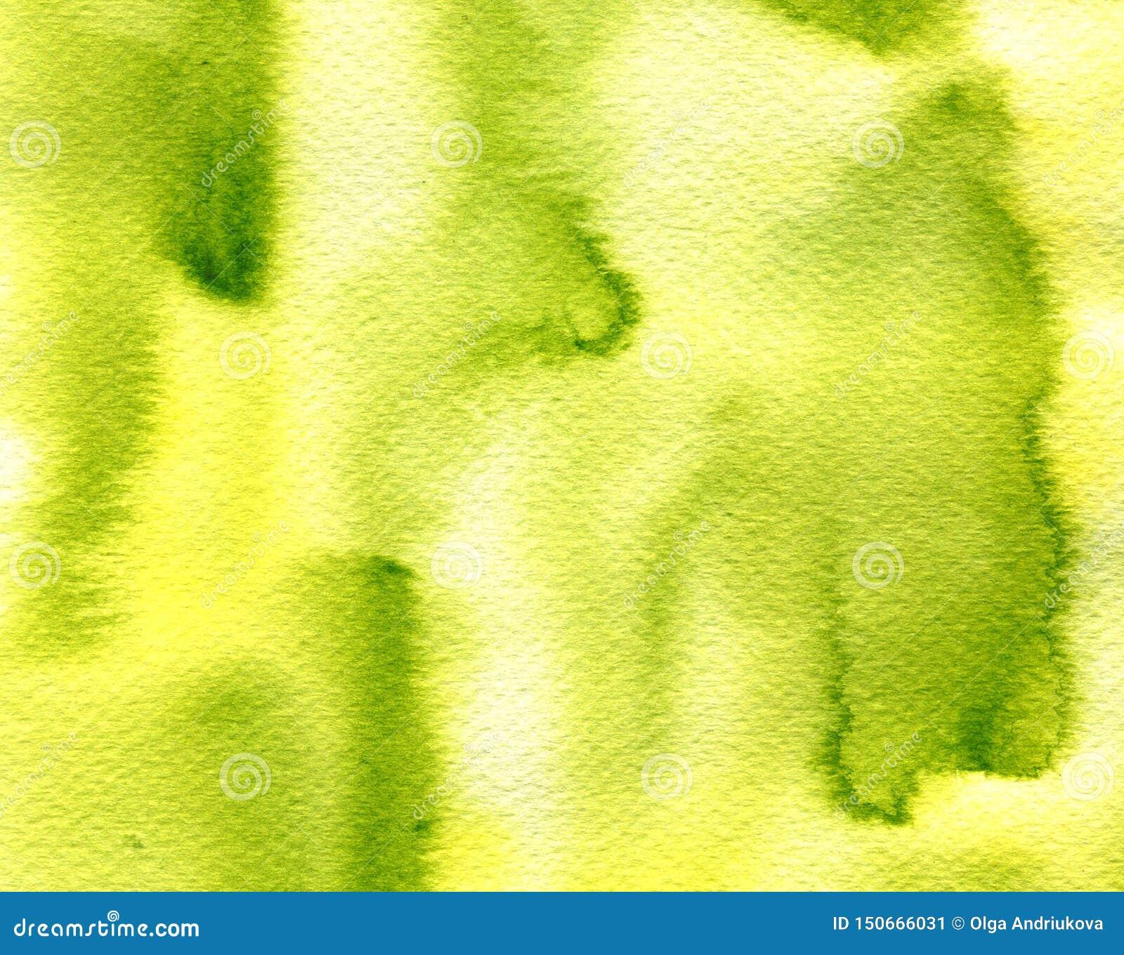 A aquarela clara abstrata do verde azeitona espirra, gotas, fundo das manchas da escova Textura pintado à mão para as tampas, emp
