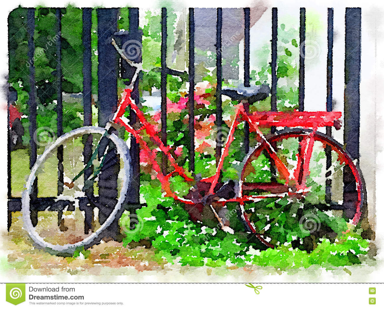 Aquarela da bicicleta holandesa vermelha das senhoras que inclina-se contra a porta