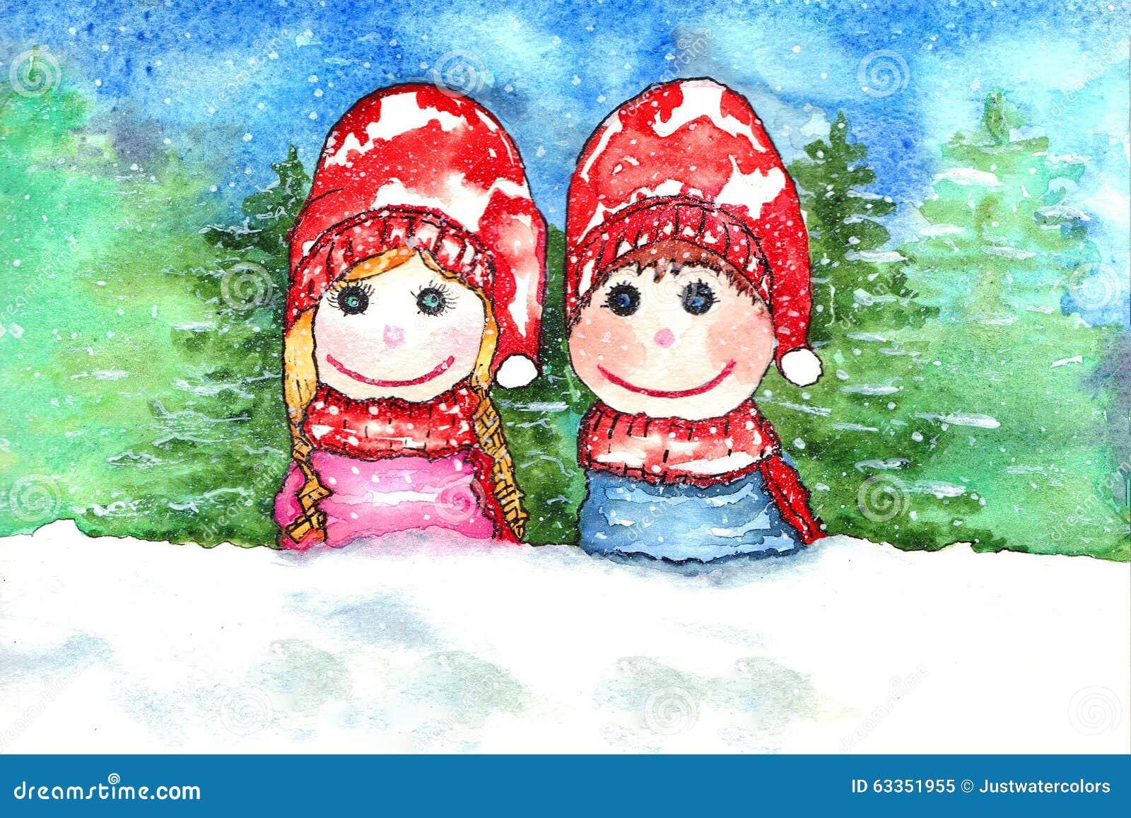 Aquarela da neve das crianças