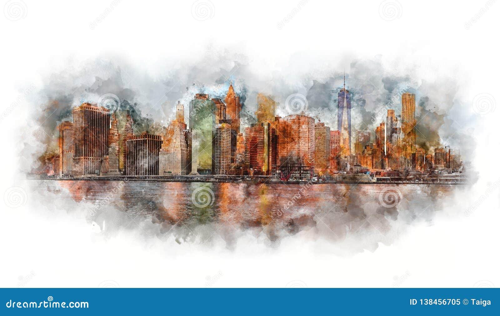 Aquarela de New York City - Manhattan e distrito financeiro na manhã