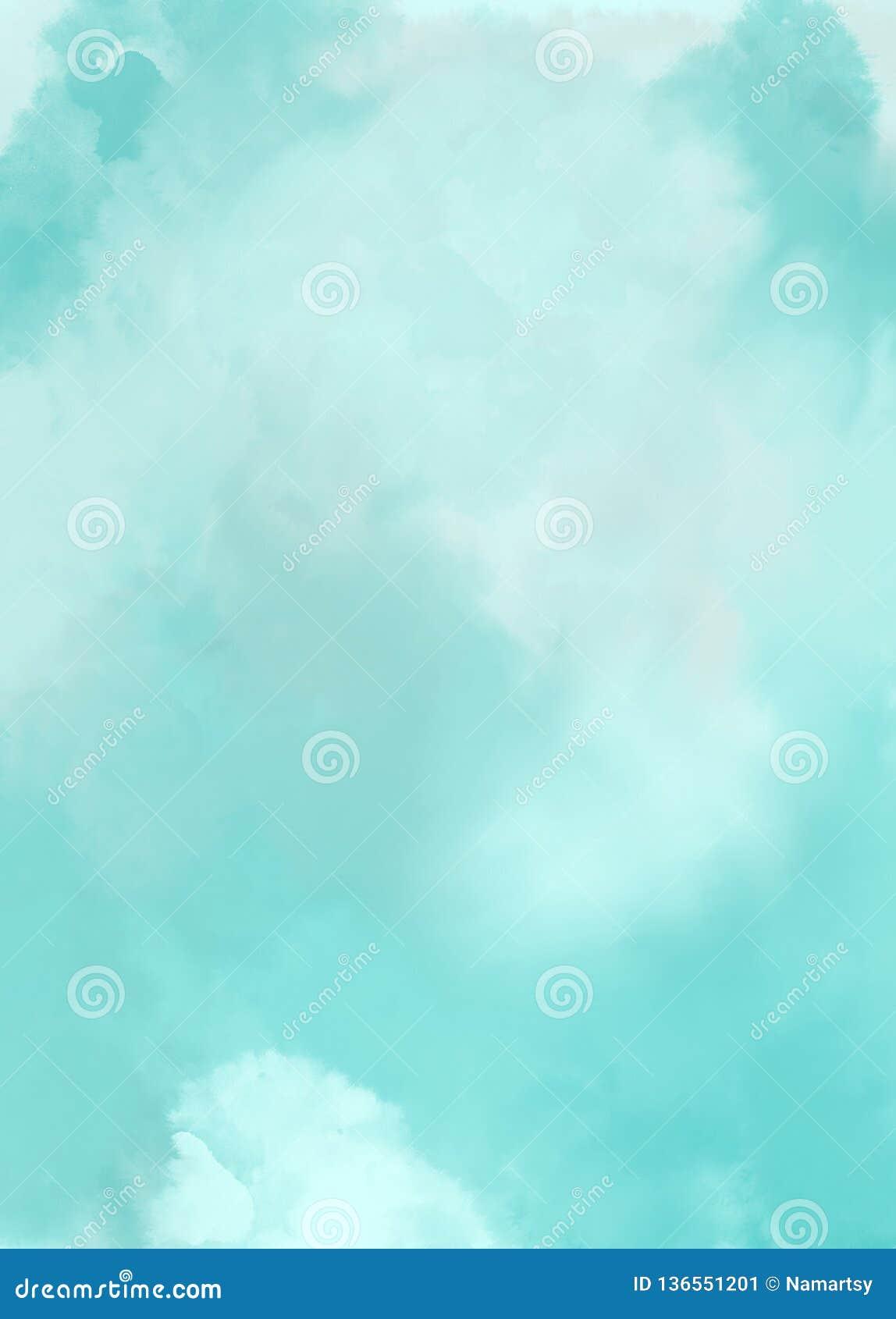 Aquarela do fundo da arte abstrato das nuvens do céu azul
