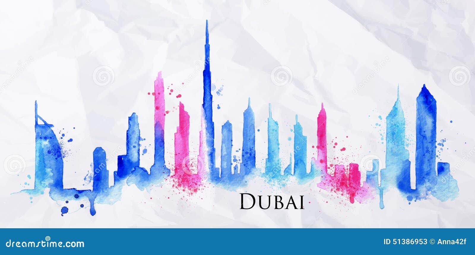 Aquarela Dubai da silhueta
