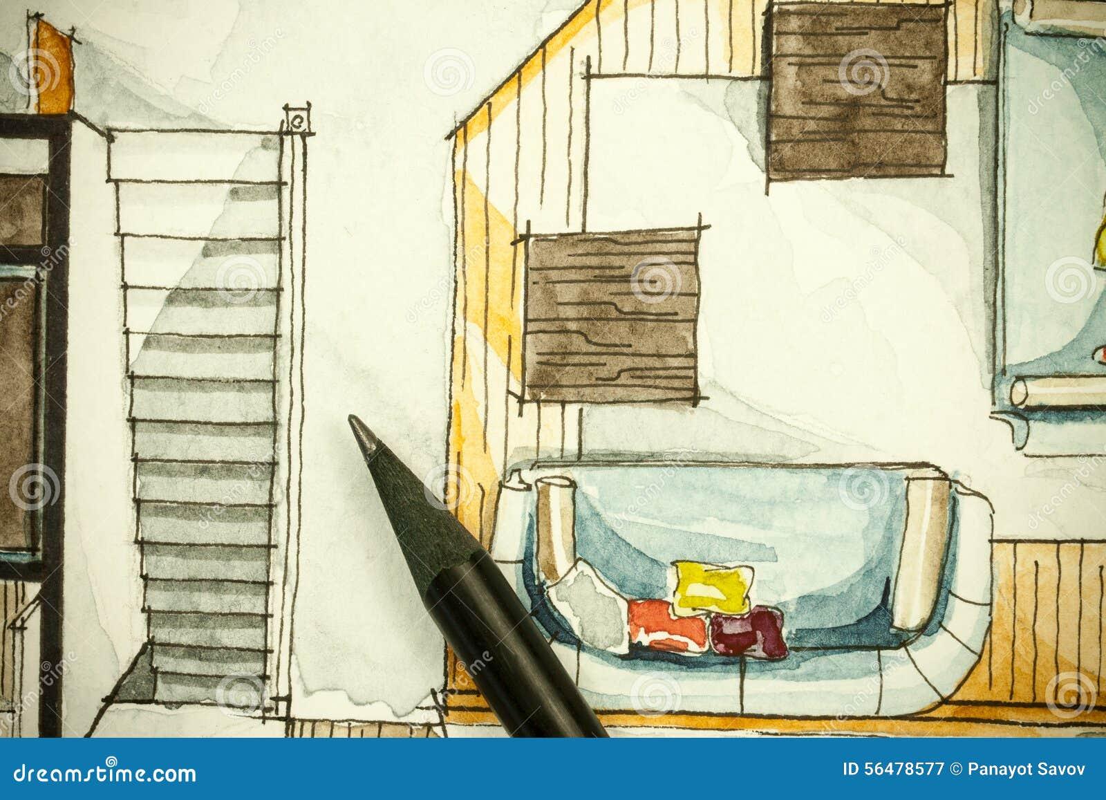 Aquarela e pintura a m o livre de tinta preta do esbo o da - Livre de plan de maison ...