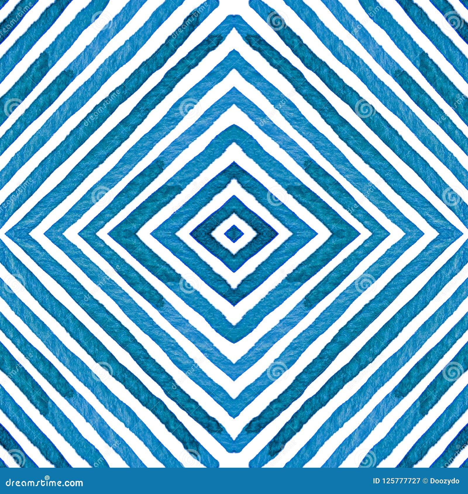 Aquarela geométrica azul Teste padrão sem emenda curioso Listras tiradas mão Textura da escova proeminente