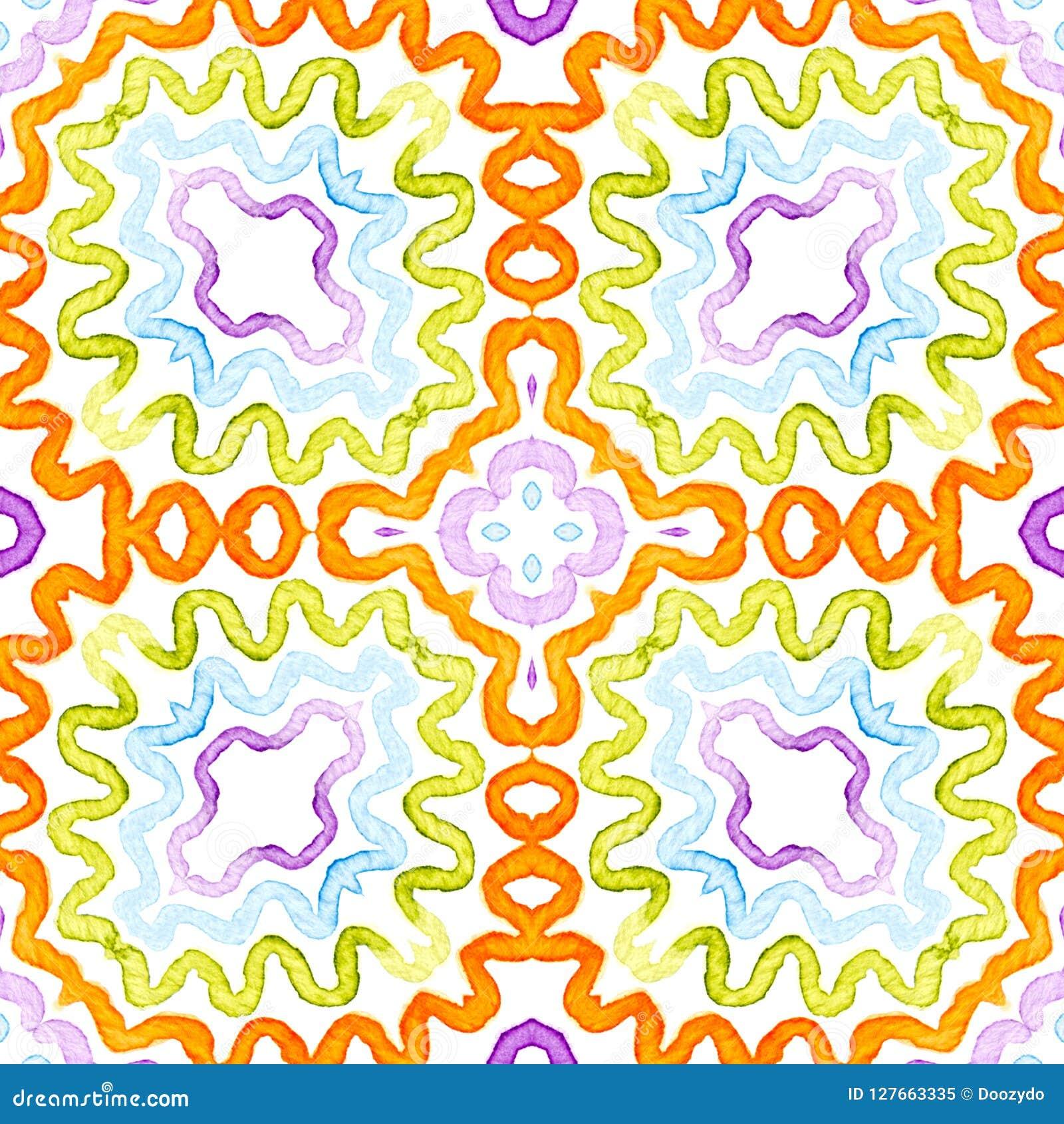 Aquarela geométrica colorida Teste padrão sem emenda do brilho Listras tiradas mão Textura da escova emoção