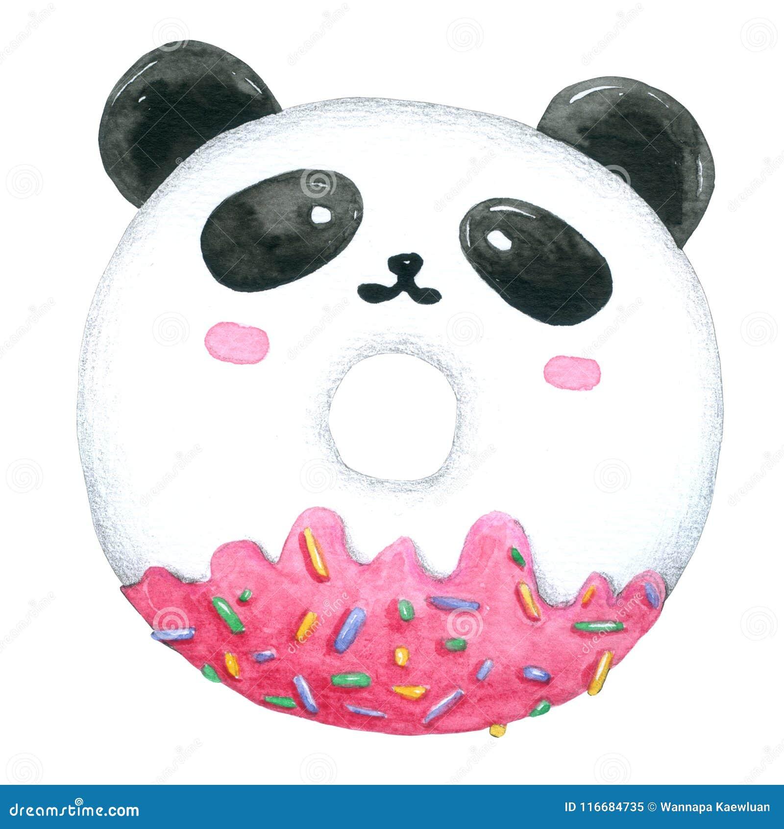 Aquarela Panda Donuts no fundo branco com o grampeamento-trajeto para decorativo e o projeto, teste padrão, empacotando