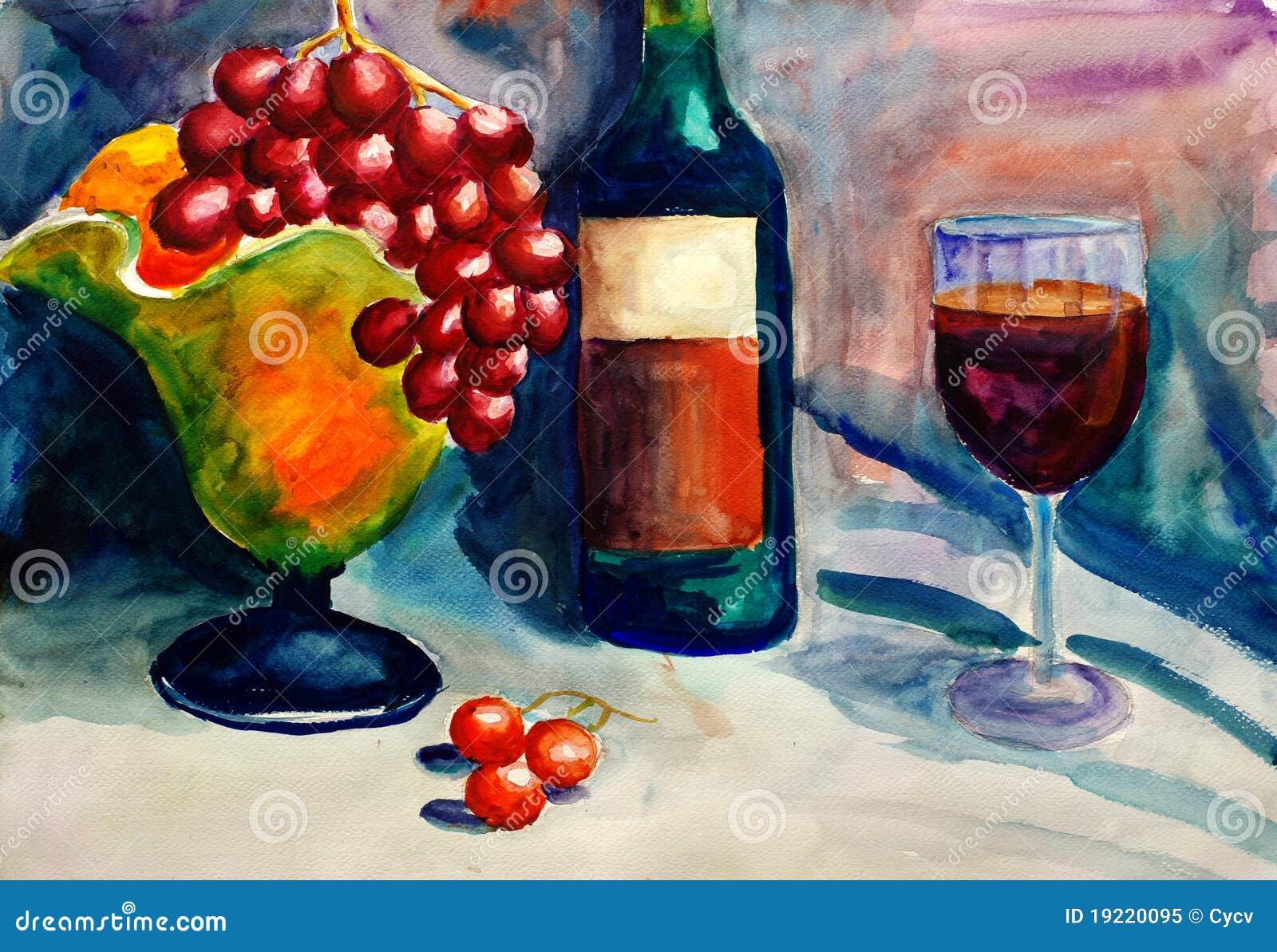 Aquarell-Anstrich - Frucht und Wein