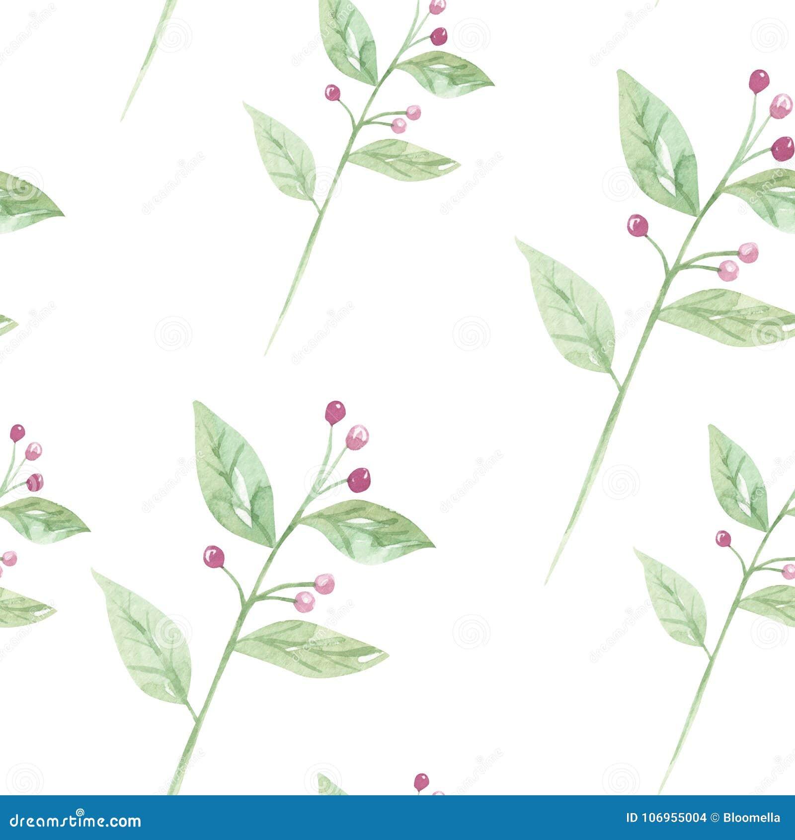 Aquarell Blumen Hochzeit Lasst Blattfeder Sommer Nahtloses Muster