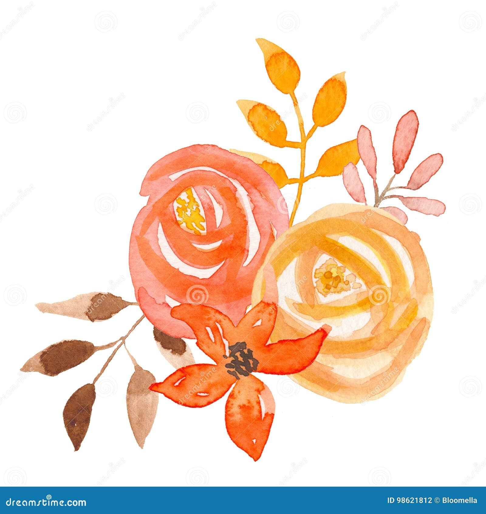 Aquarell Blumen Orange Autumn Bouquet Coral Garland Leaf Hochzeit