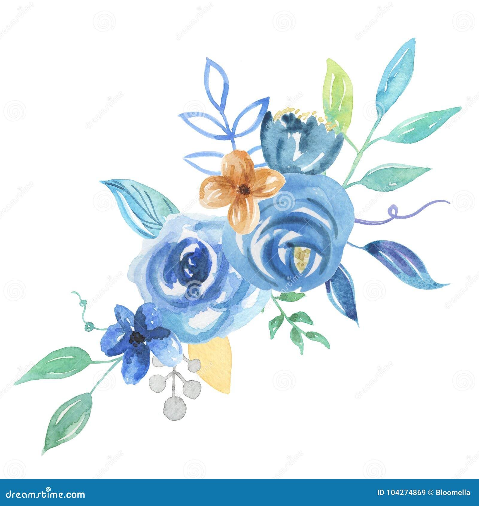 Aquarell Blumenstrauss Blaue Beeren Blatt Anordnungs Hochzeits Blumen