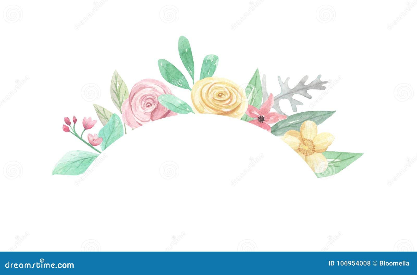Aquarell Bogen Blumen Hochzeit Lasst Blattfeder Sommer Rahmen Grenze