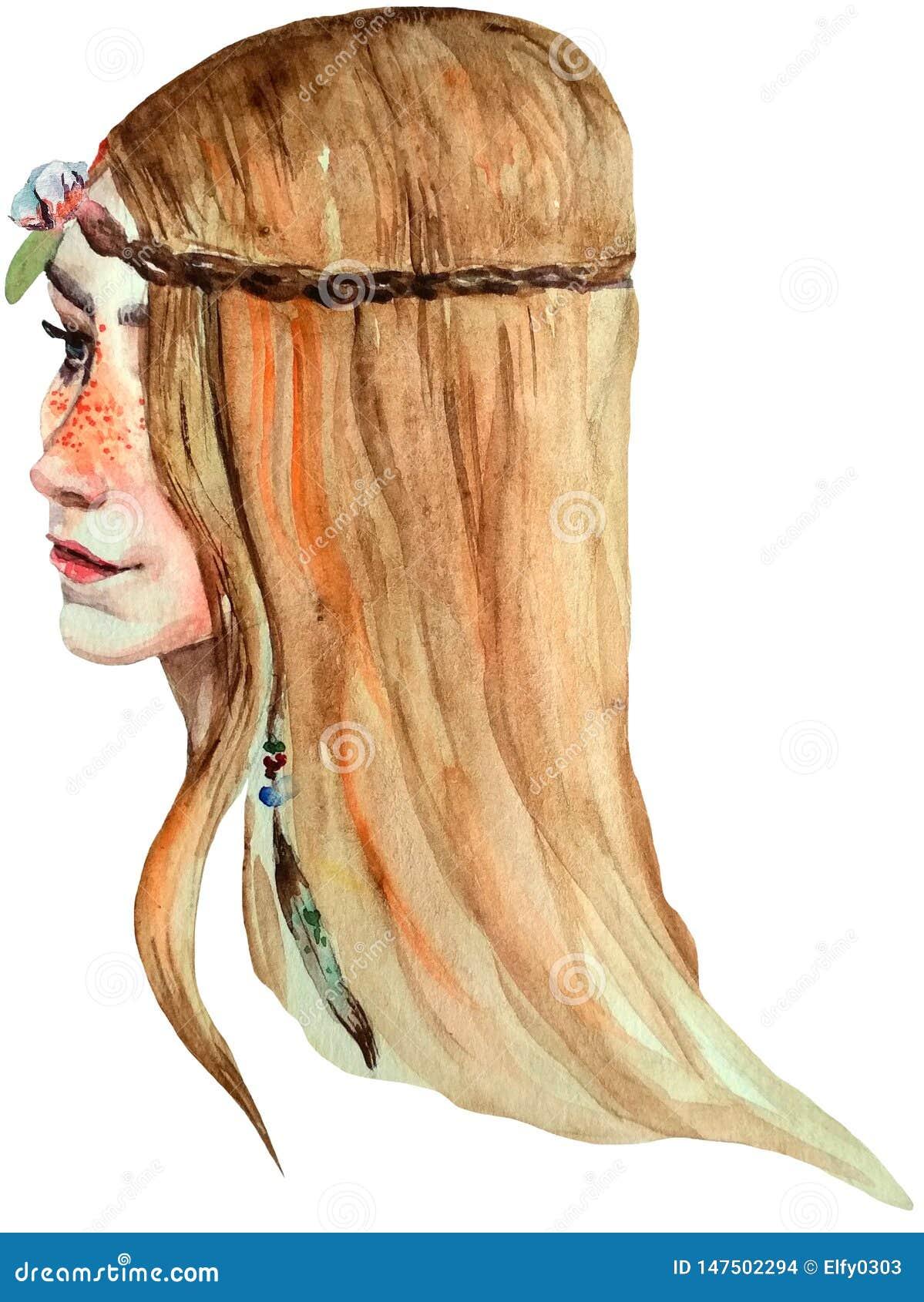 Aquarell boho Artmädchen mit Sommersprossen, blauen Augen und dem hellen langen Haar
