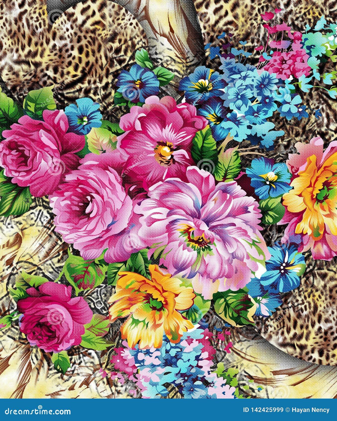 Aquarell digitel Blumenmuster