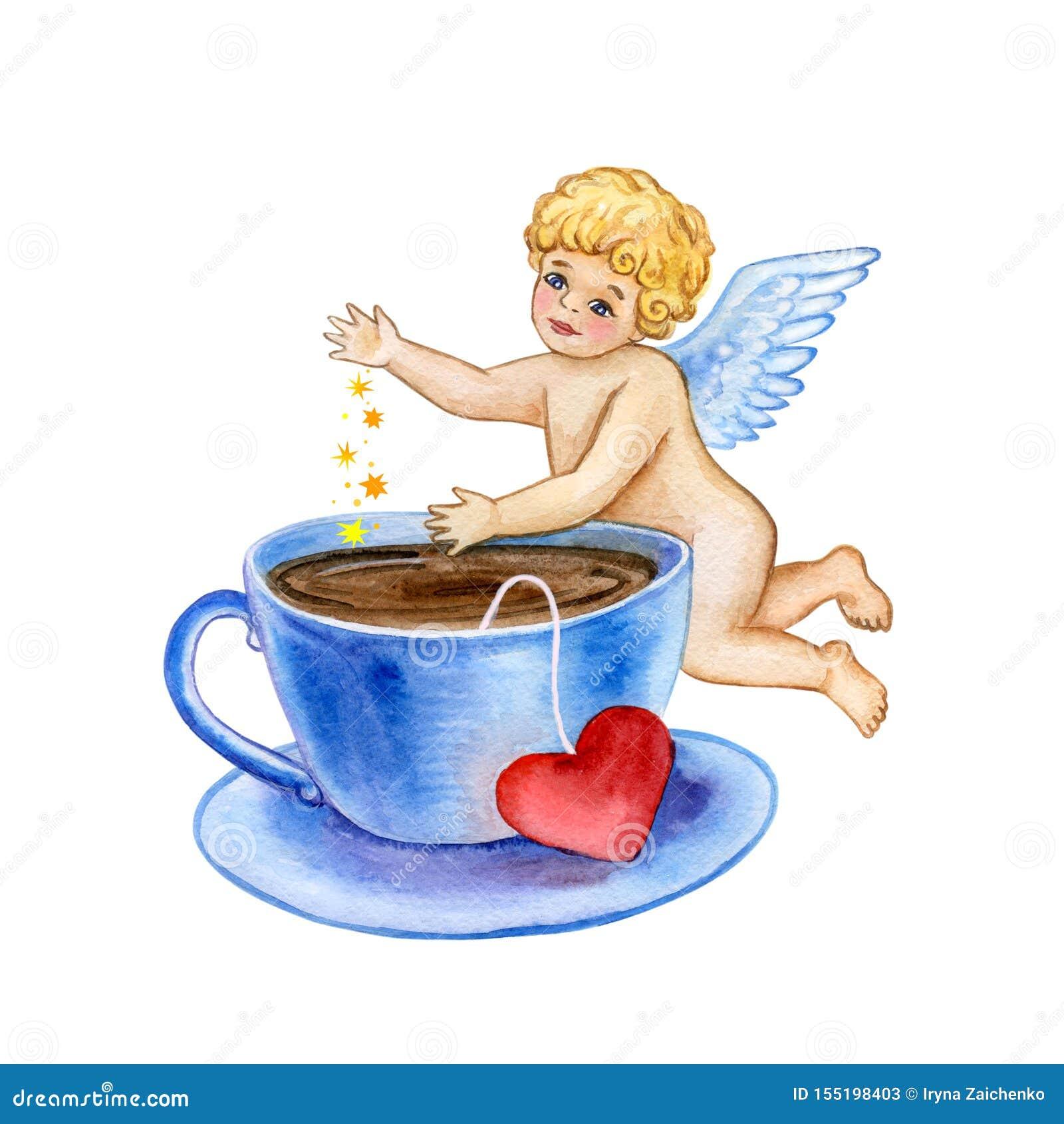 Aquarell-Heilig-Valentinsgruß-Grußkartenschablone für Netz, Druck Netter kleiner Amor lässt magischen Liebesstaub in Kaffeetasse